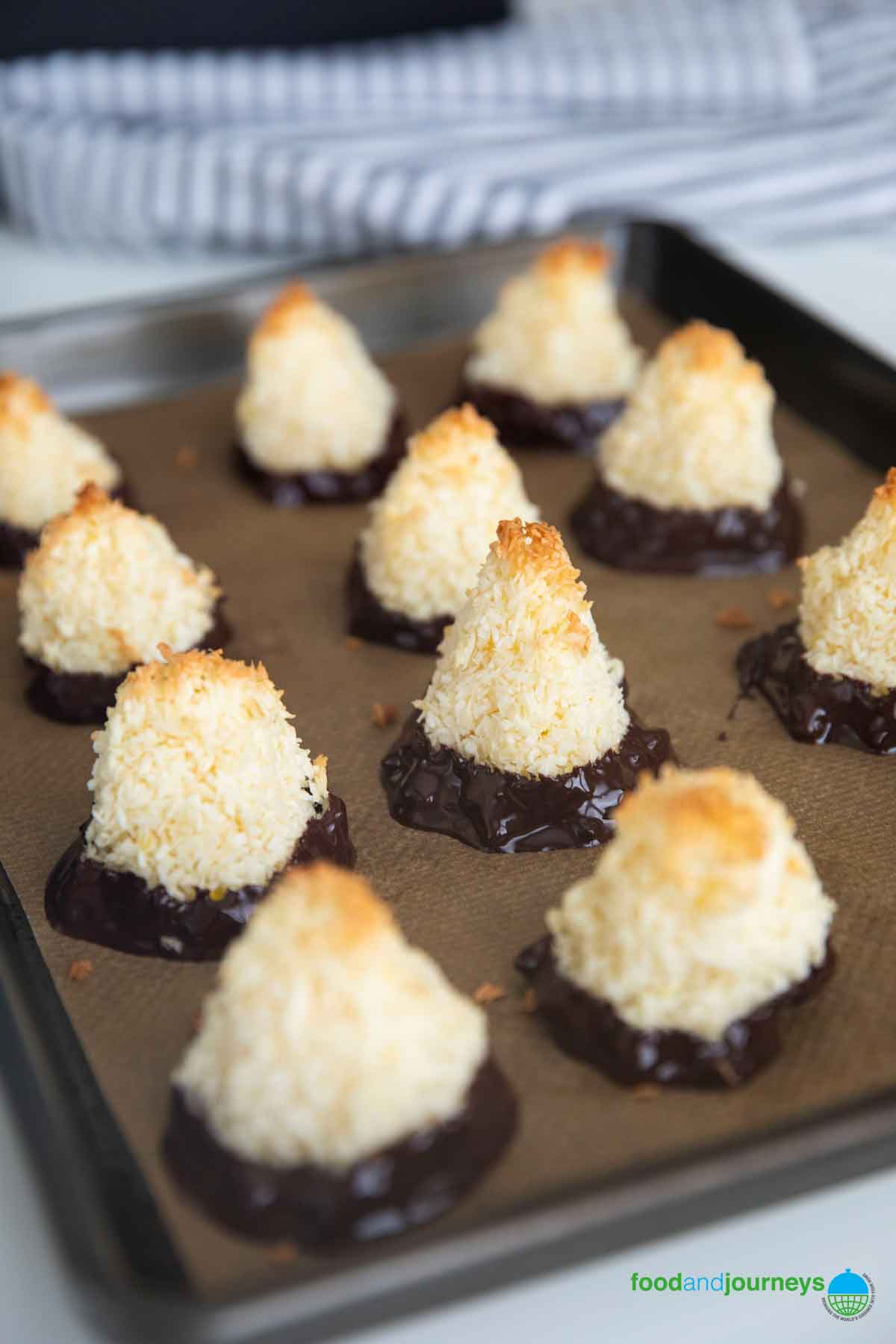 Swedish Coconut Bites in a tray, fresh from the oven.