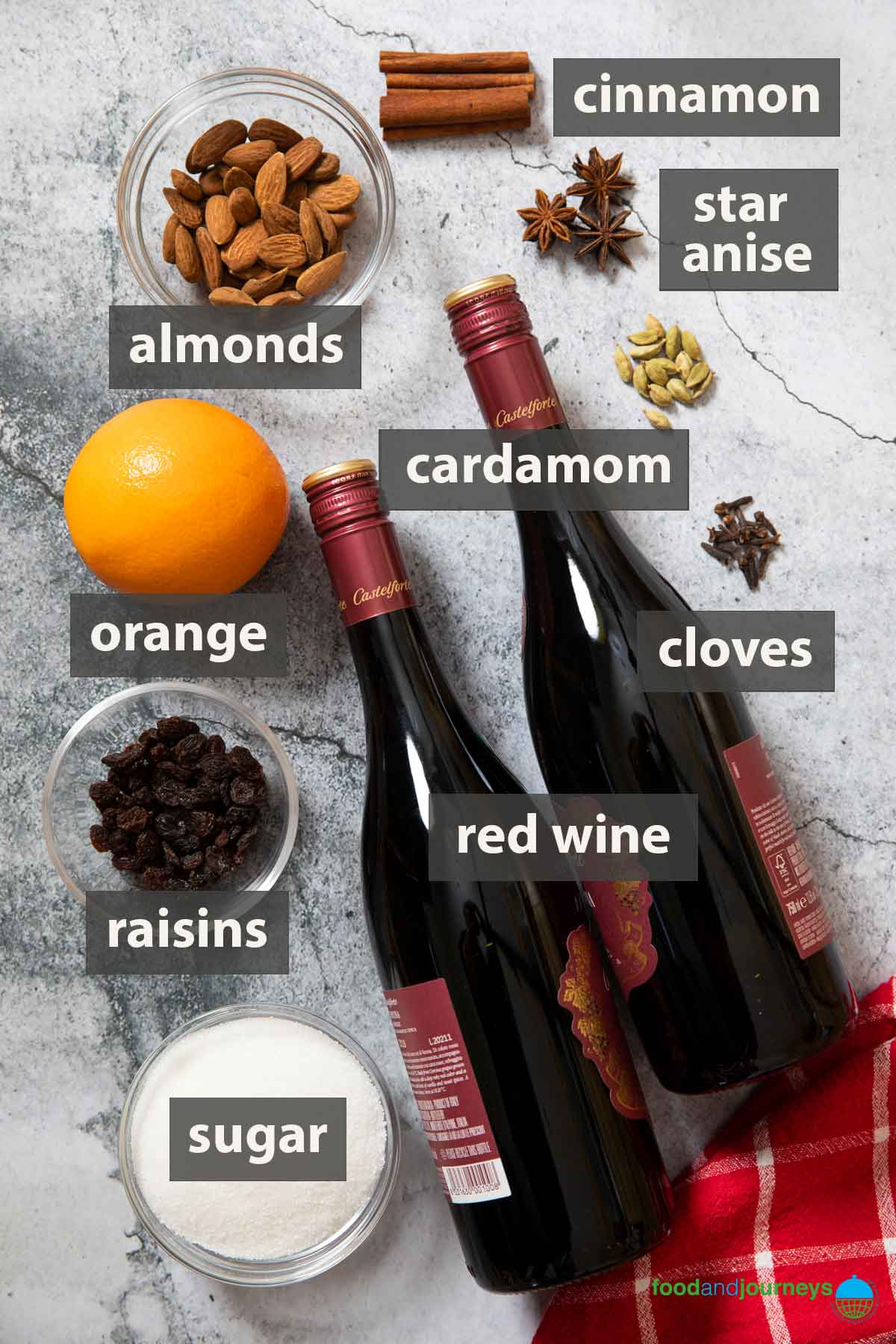 An image showing all the ingredients you need to prepare glögg at home.