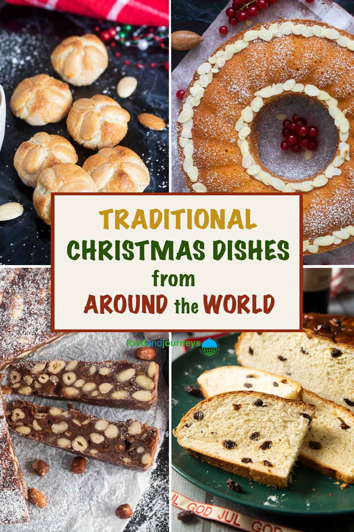 A collage of images showing various traditional Christmas dishes from around the world.