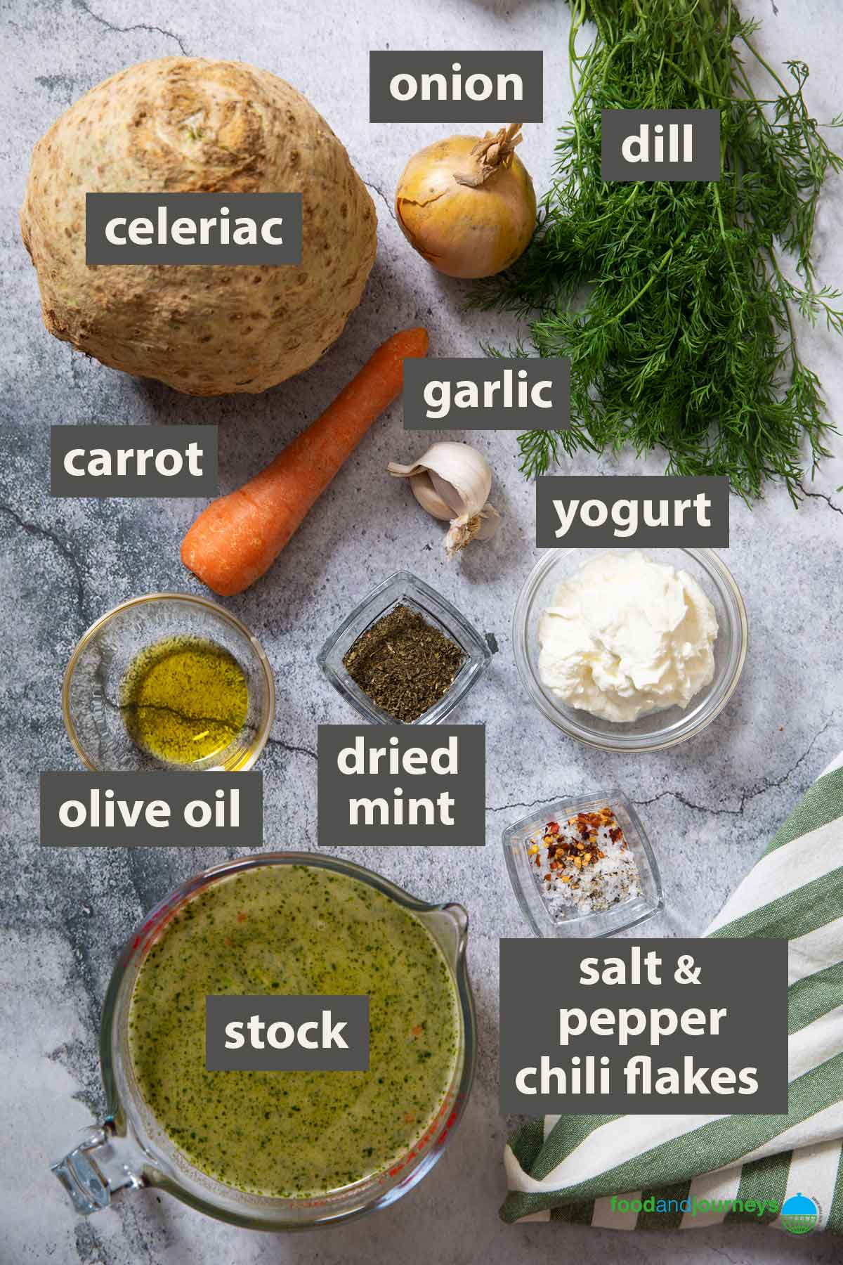 An image showing all the ingredients to prepare when making Turkish Celeriac Soup.