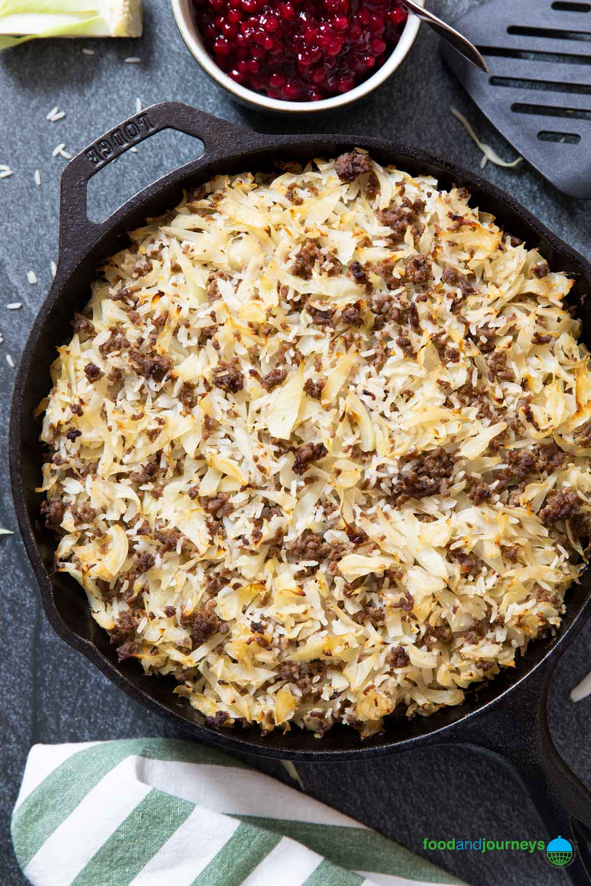 Beef and Cabbage Casserole in a skillet, straight out of the oven.