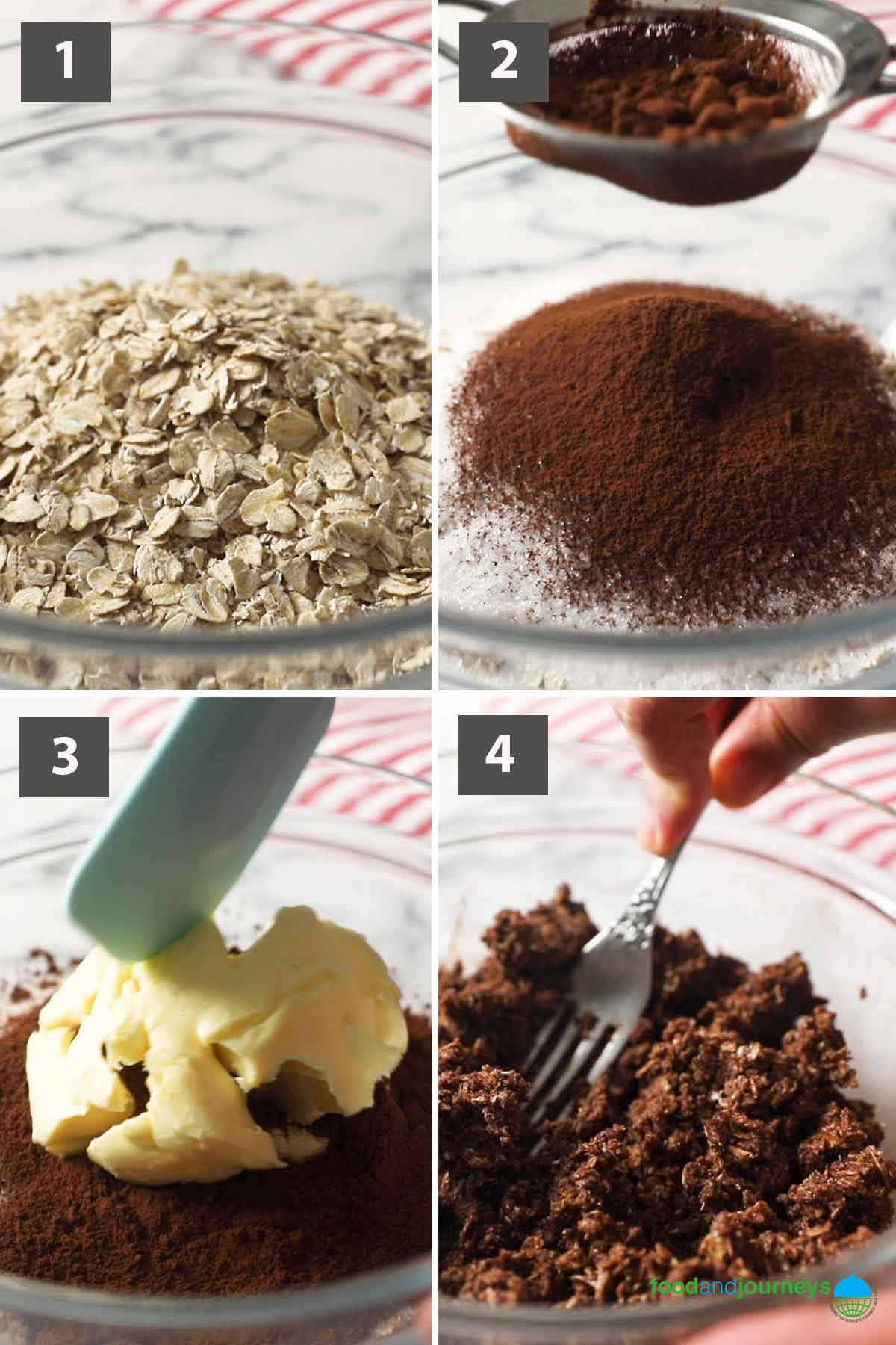 First part of a collage of images showing the step by step process on how to make no-bake chocolate balls.