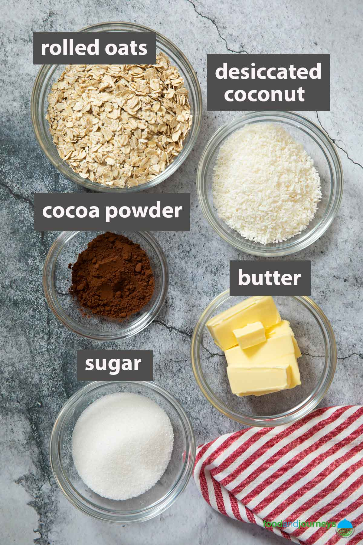 An image showing all the ingredients you need to prepare Swedish Chocolate Balls at home.