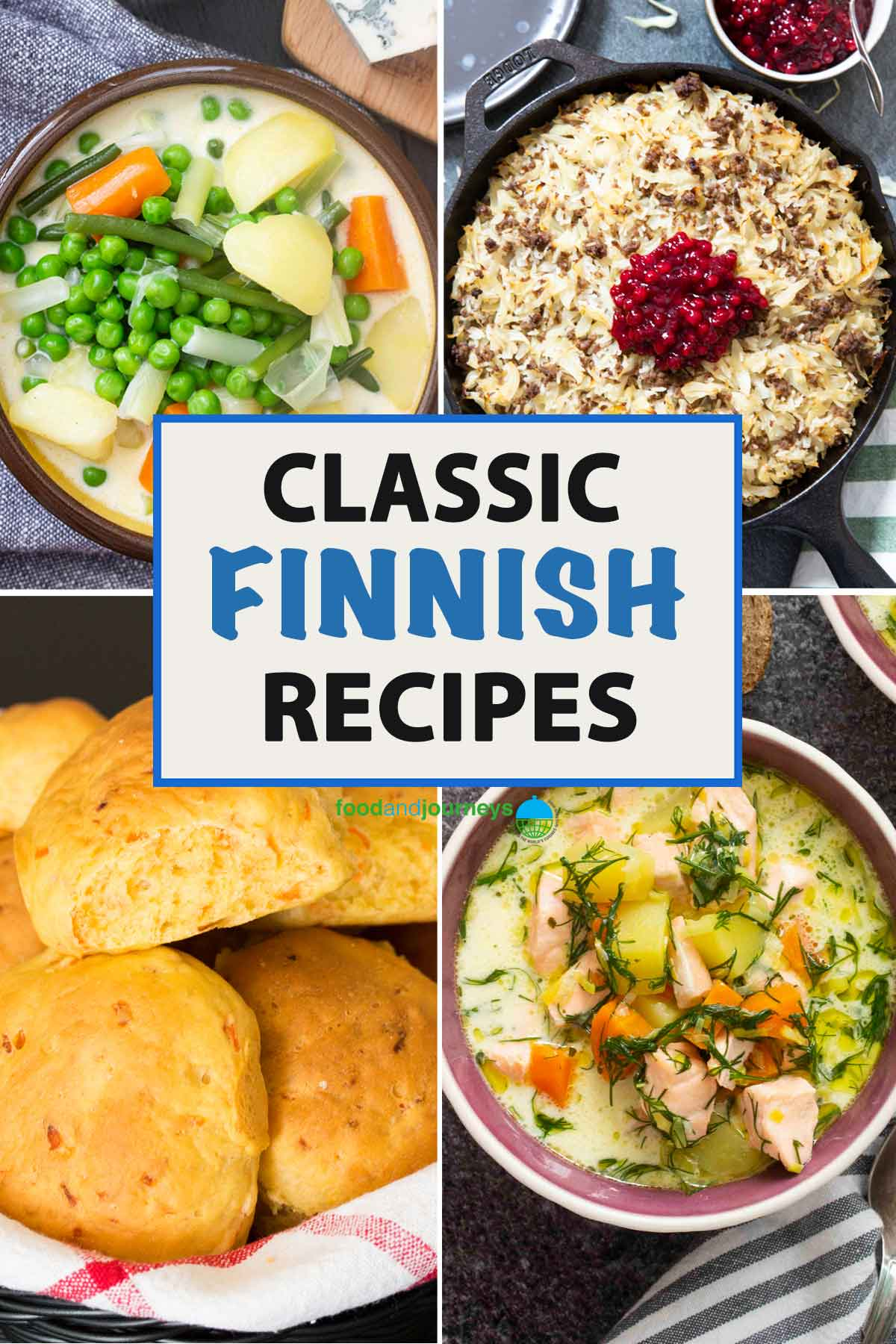 A collage of images showing some traditional Finnish dishes.