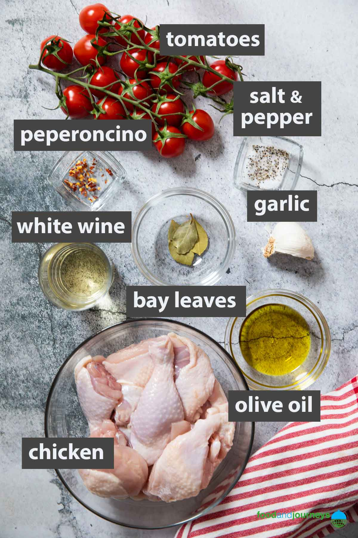 An image showing all the ingredients you need to prepare traditional Chicken Cacciatore.