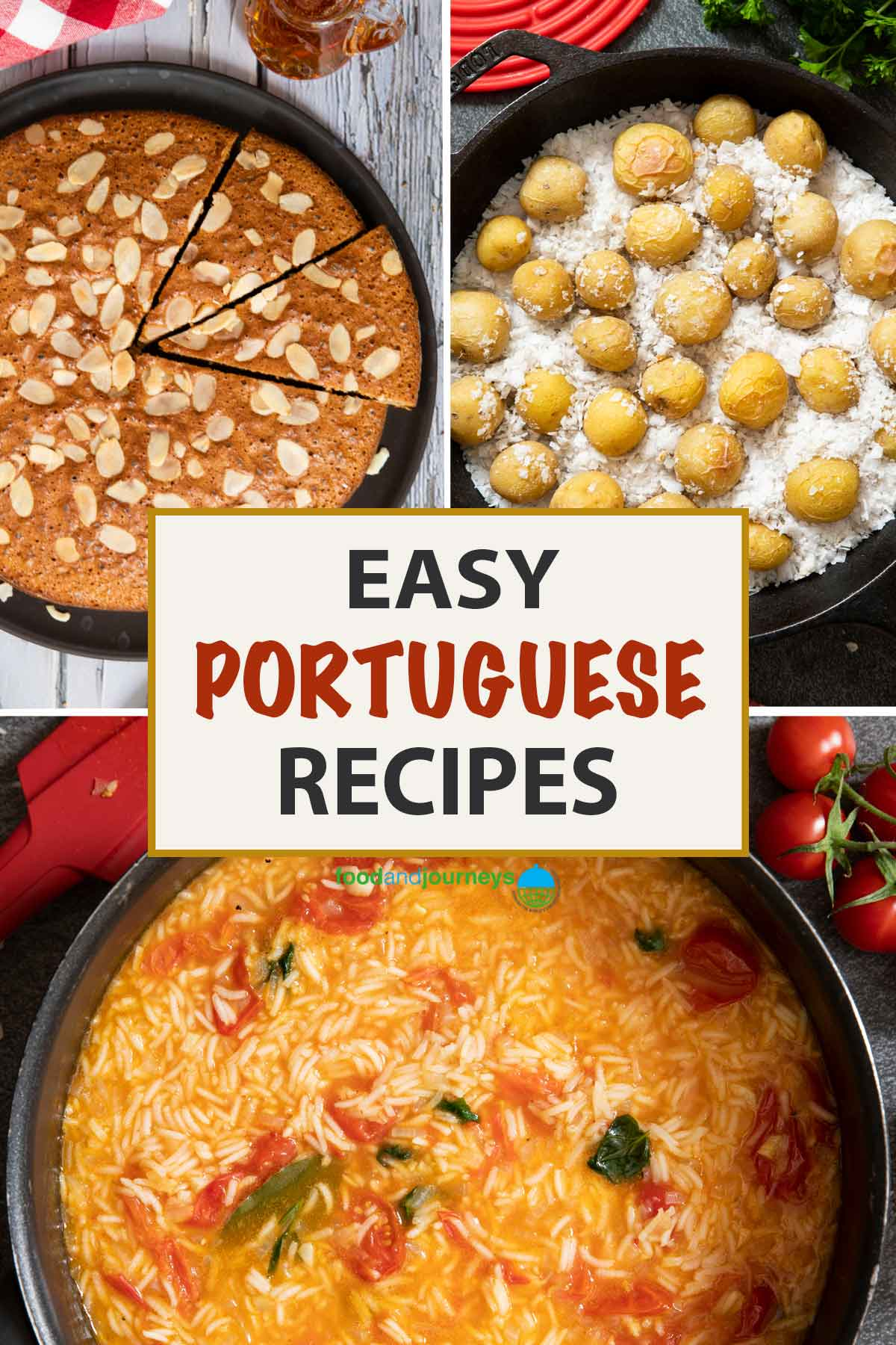 A collage of images showing traditional Portuguese recipes.