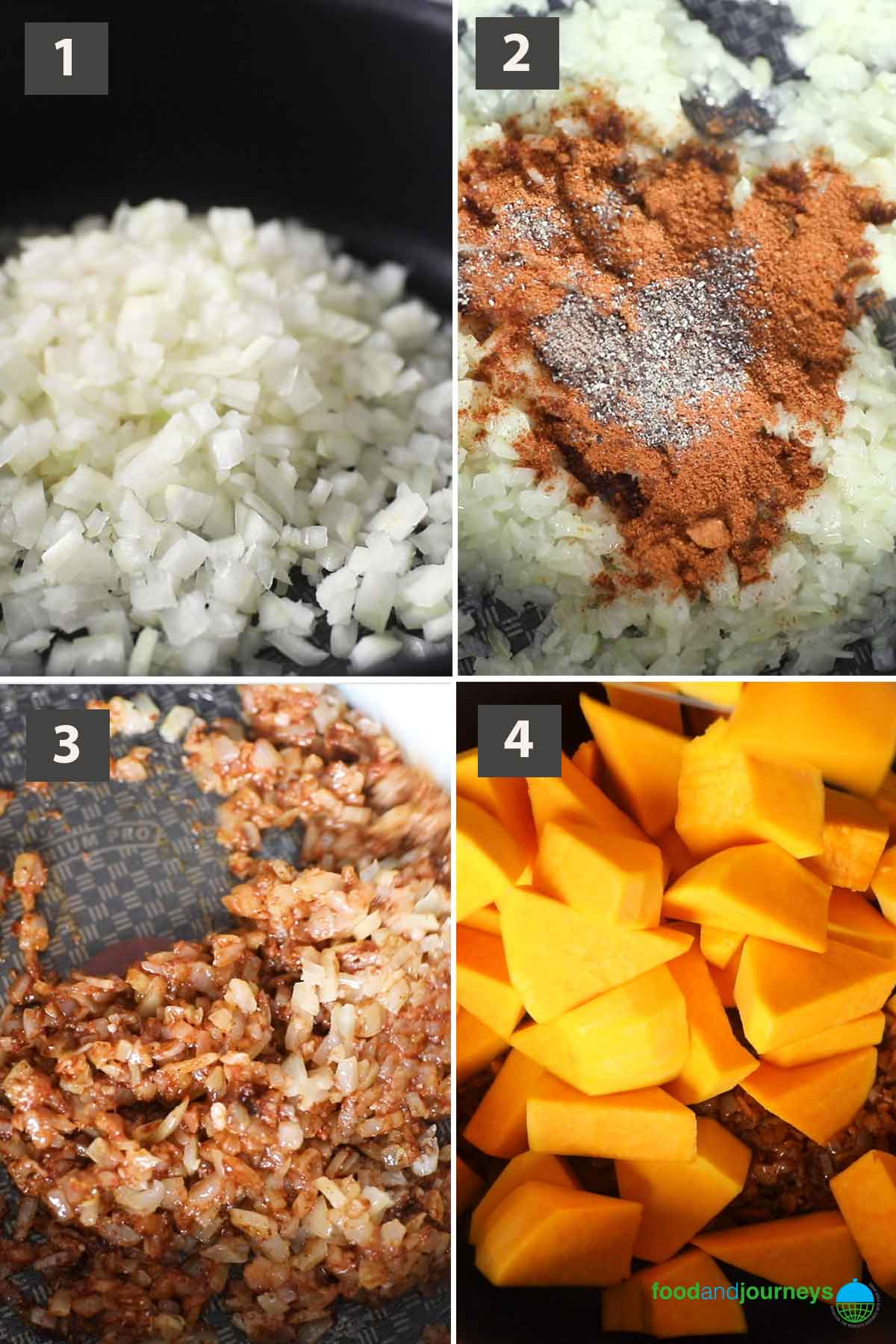 First part of a collage of images showing the step by step preparation of Ethiopian Pumpkin Stew.