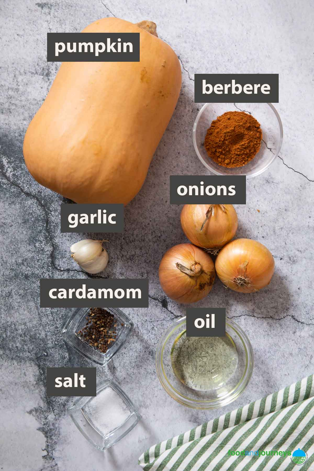 An image showing all the ingredients you need to prepare Spicy Pumpkin Stew at home.