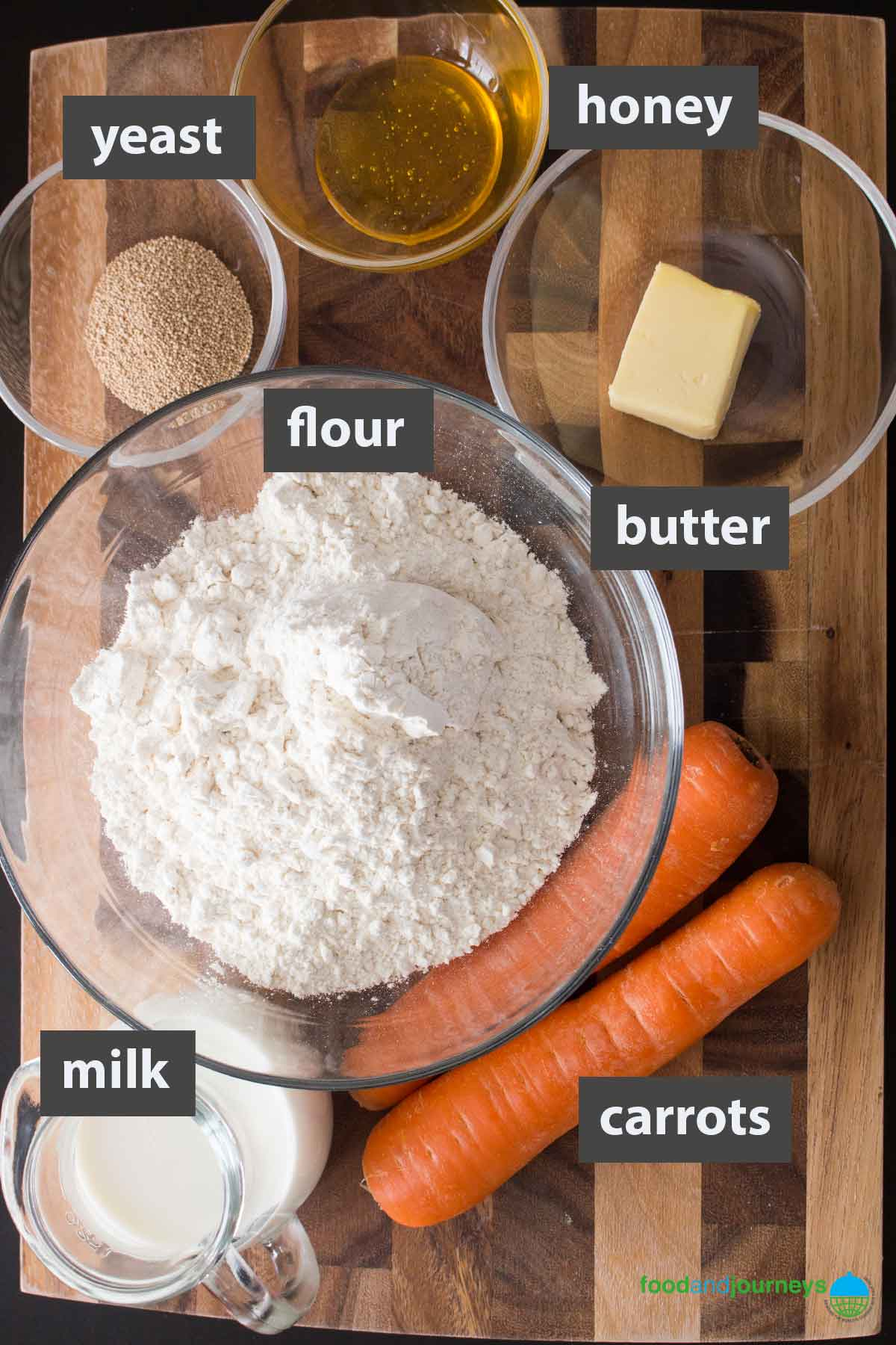 An image showing all the ingredients you need to prepare carrot bread rolls at home.