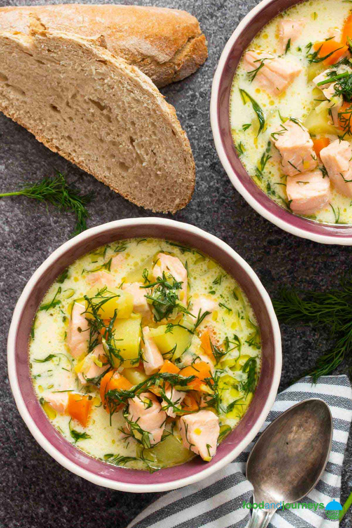 An overhead shot of two bowls of Finnish Salmon soup, served with some bread, as part of Classic Finnish Recipes.