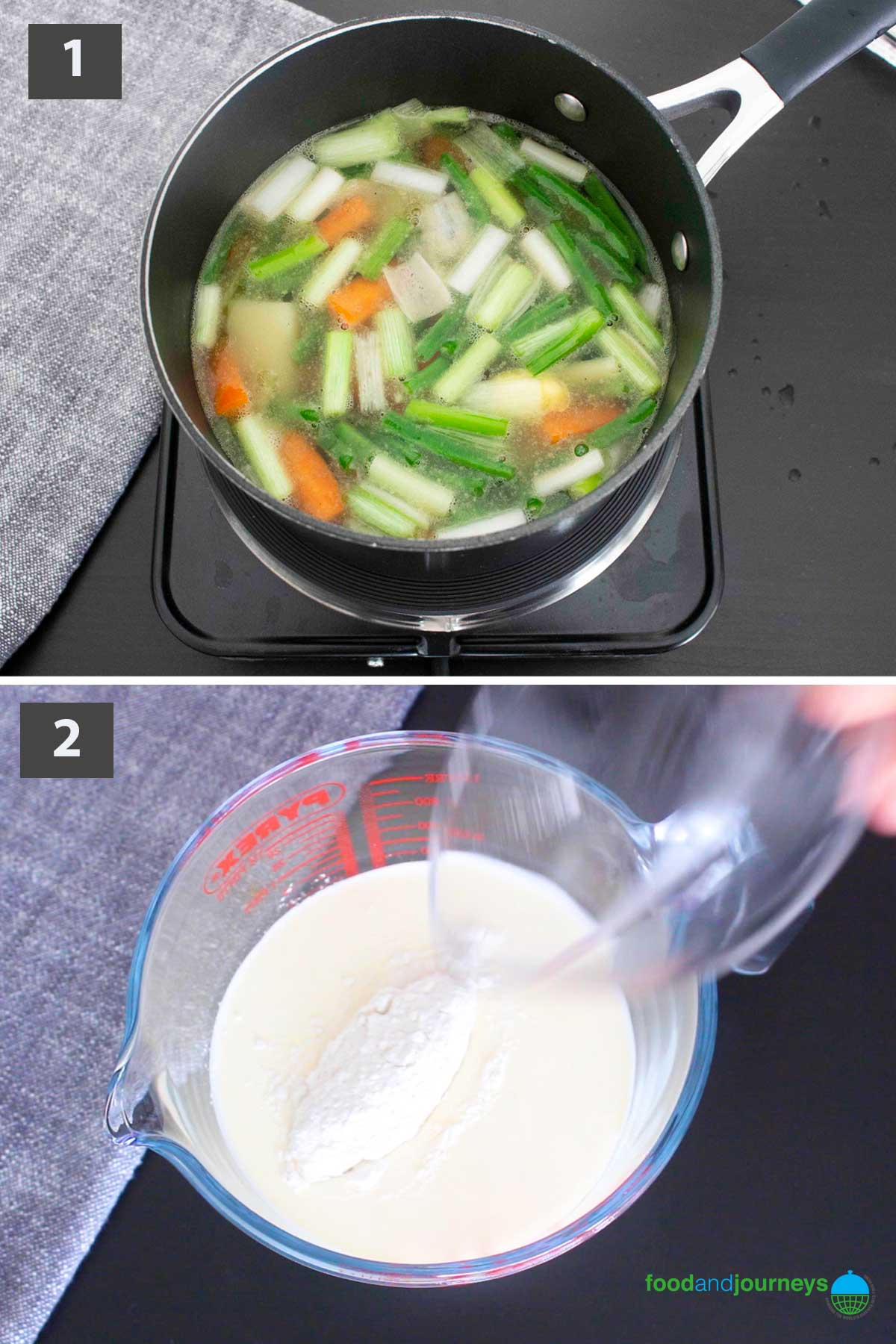 First part of a collage of images showing the step by step process on how to make Finnish Summer Soup