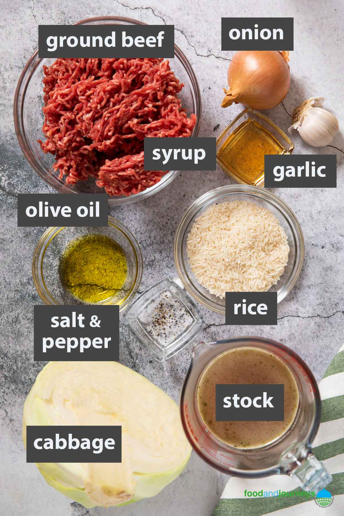 An image showing all the ingredients you need to prepare ground beef and cabbage casserole.