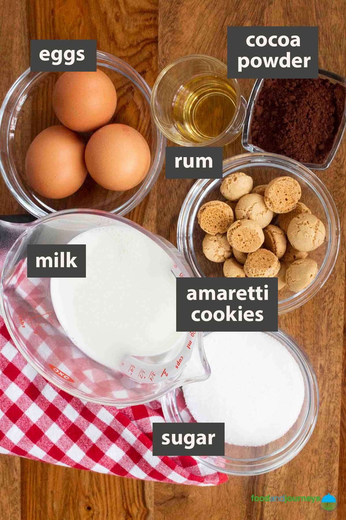 An image showing all the ingredients you need to prepare Italian Chocolate Custard at home.