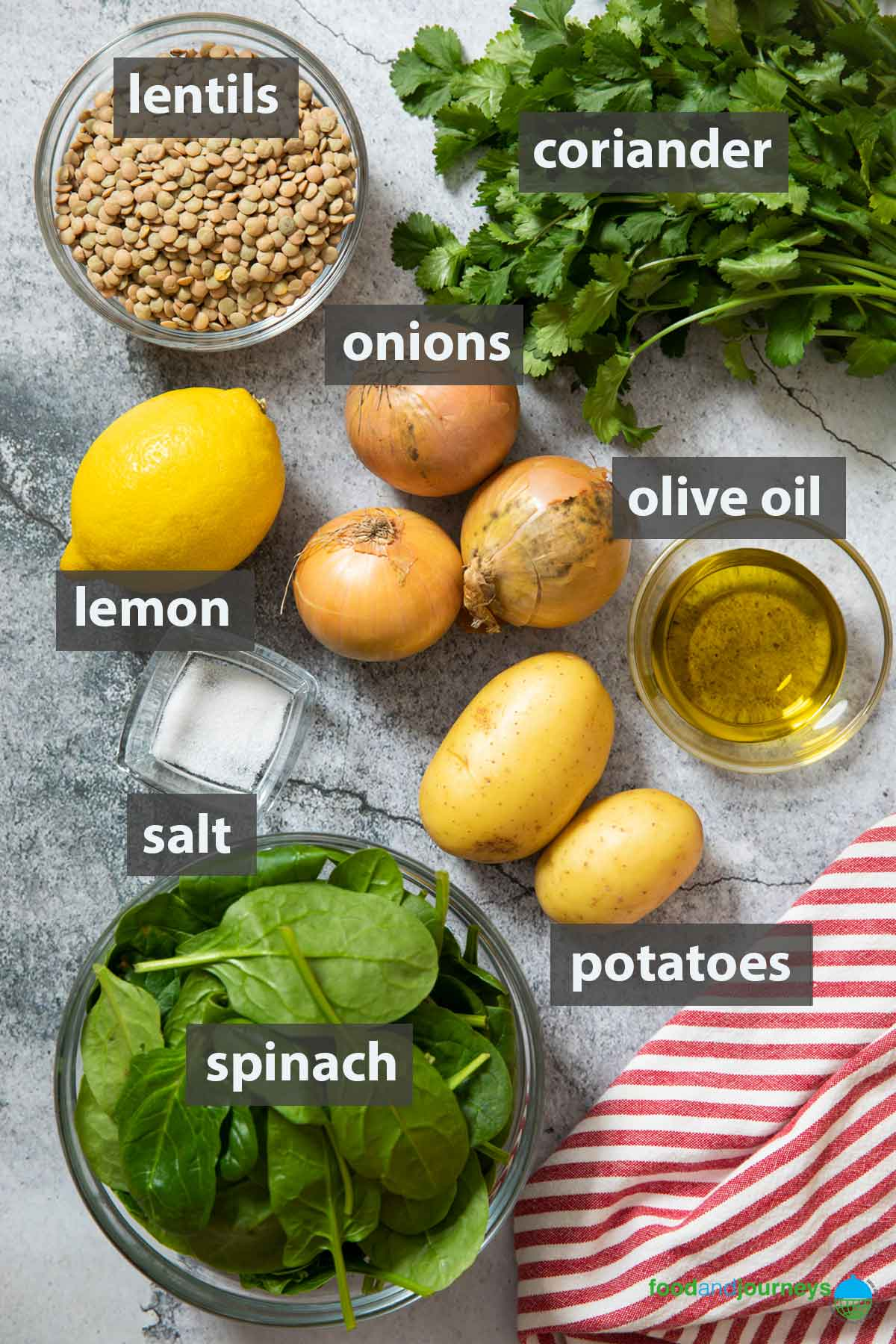 An image showing all the ingredients you need to prepare to make Lebanese Lemon Lentil Soup.