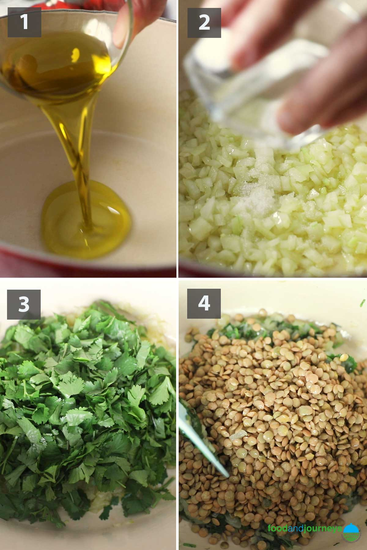 First part of a collage of images showing the step by step process on how to make Sour Lentil Soup at home.