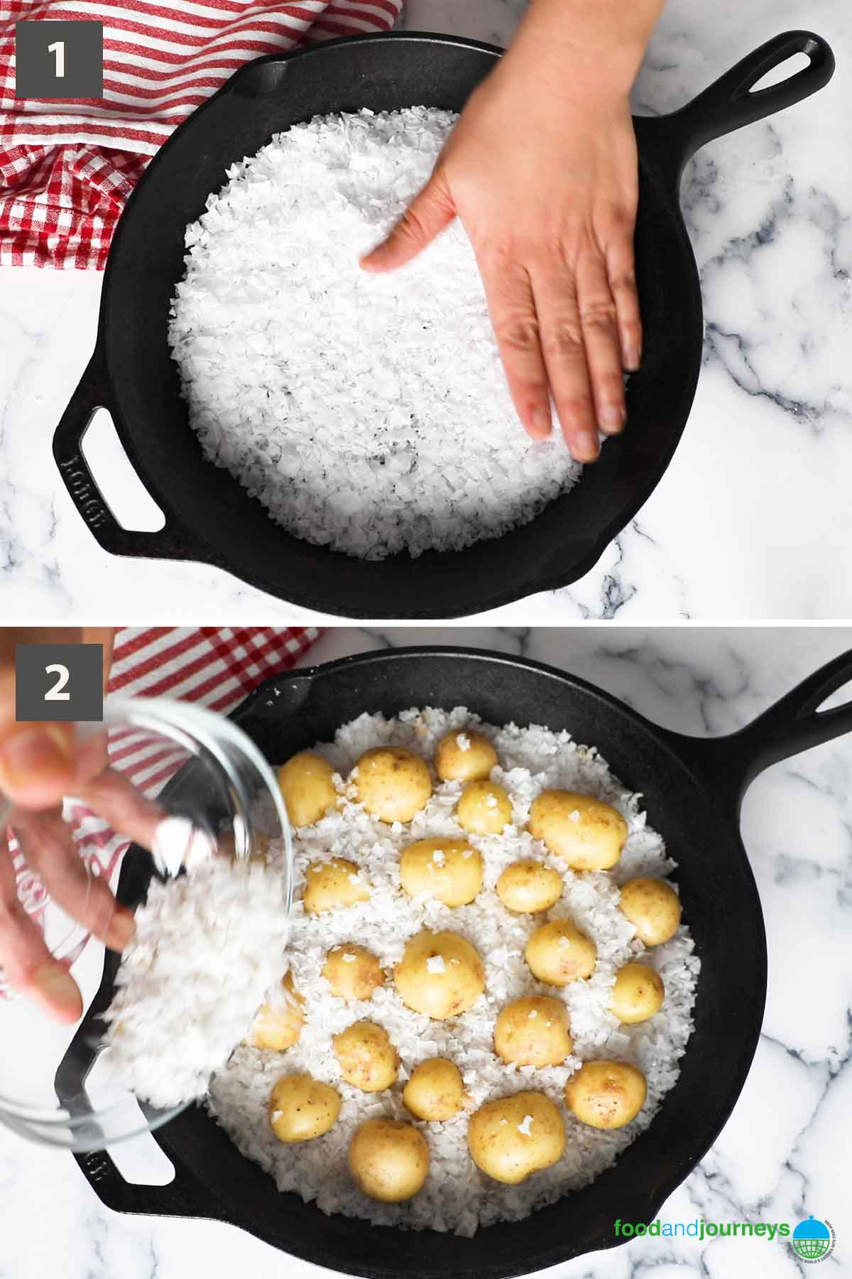 An updated collage of images showing the step by step process on how to make salt-crusted baked potatoes