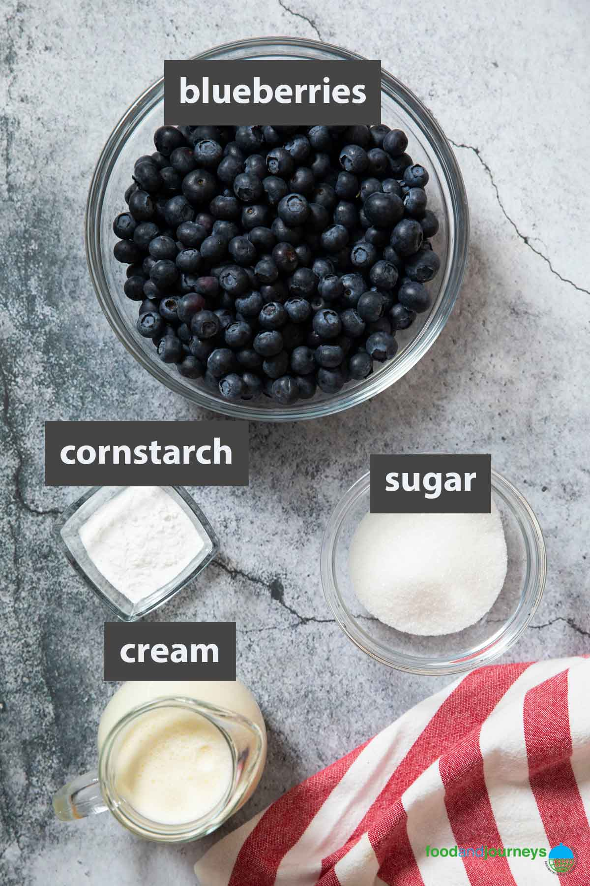 An image showing all the ingredients you need to prepare blueberry soup at home.