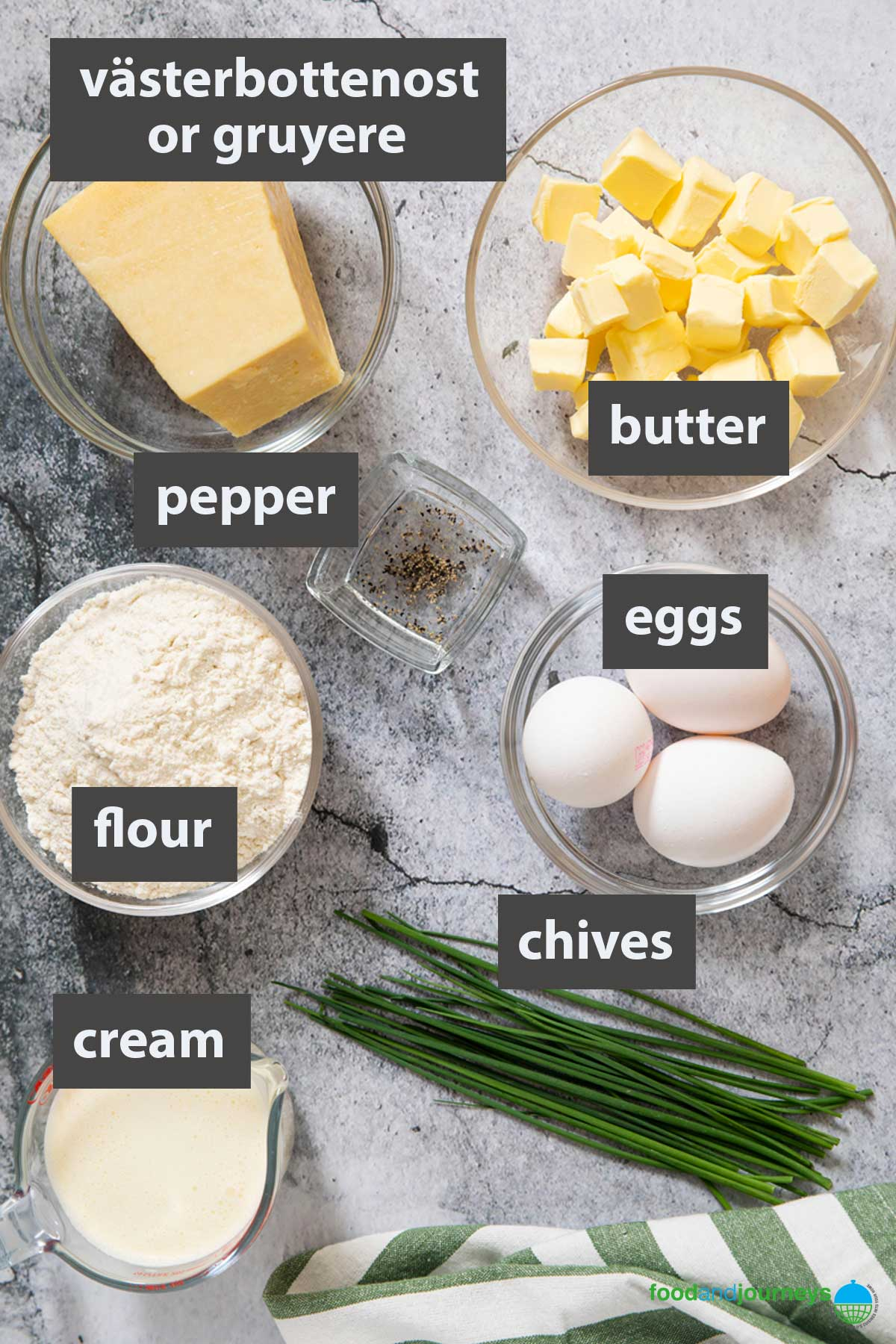 An image showing all the ingredients needed to make your own cheese pie at home.