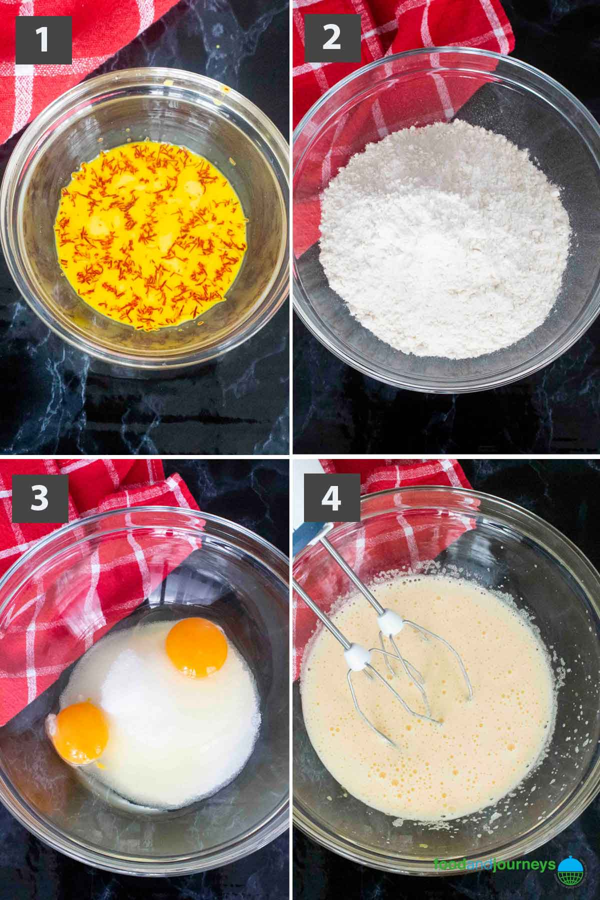 First part of a collage of images showing the step by step process on how to make saffron cake at home.