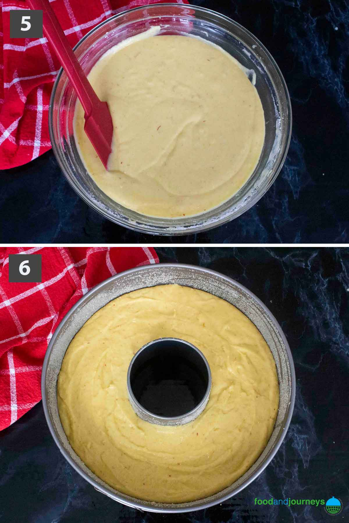 Second part of a collage of images showing the step by step process on how to make Swedish Saffron Cake.