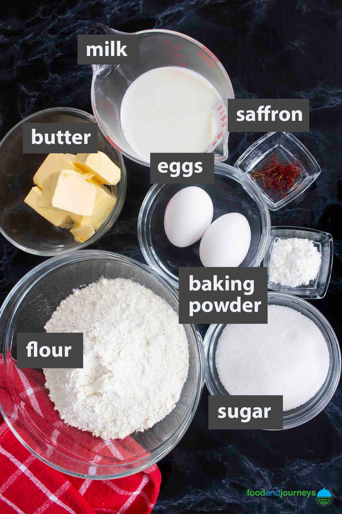 An image showing all the ingredients you need to prepare Saffron Cake.