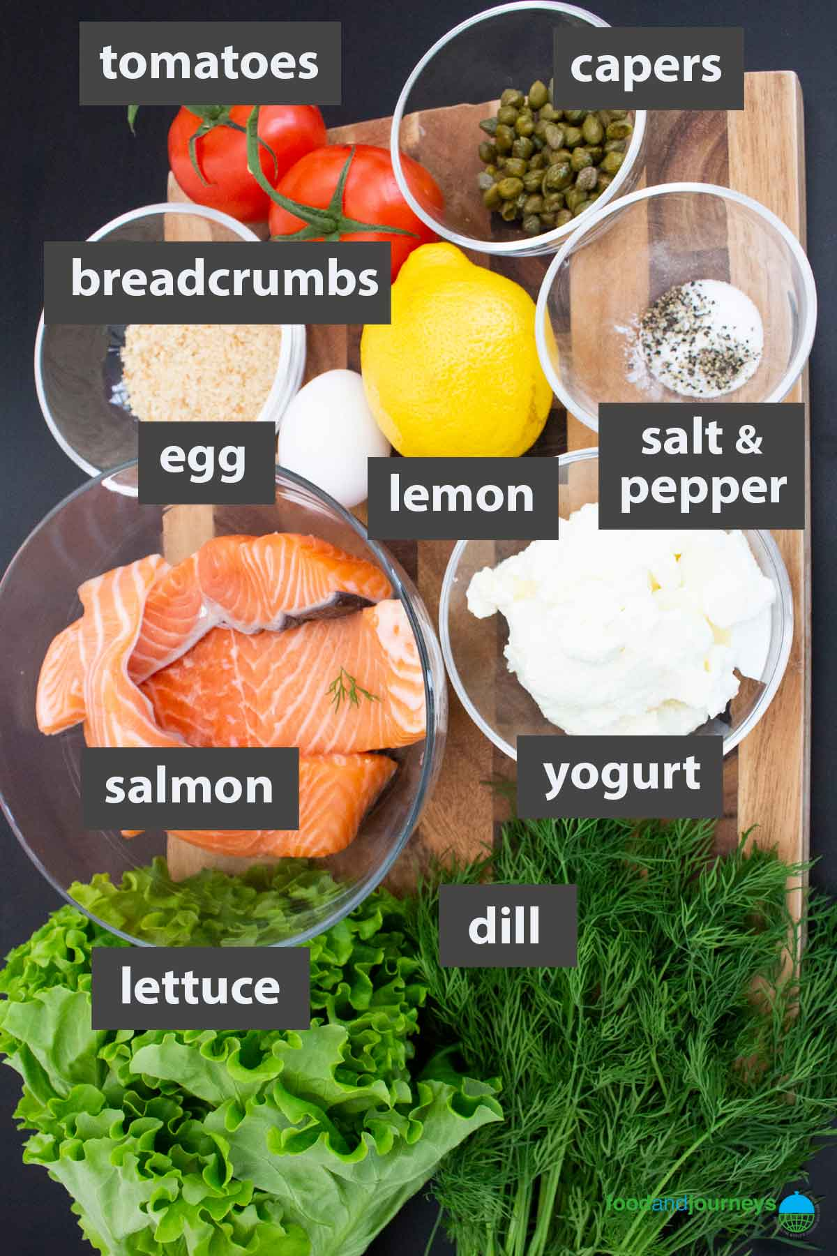 An image showing all the ingredients you need to prepare Swedish Salmon Burger with Dill Yogurt Sauce at home.