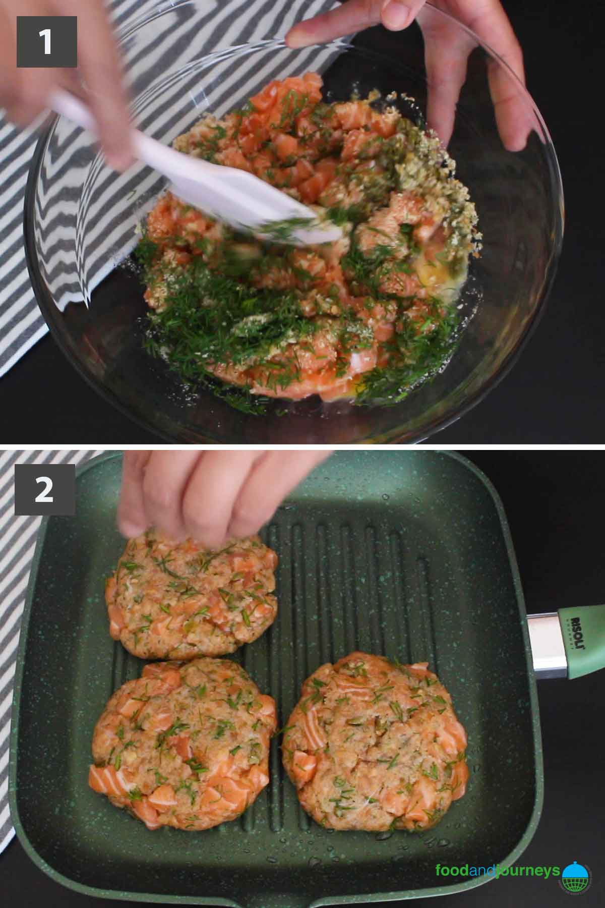 First part of the latest image for collage showing the step by step process on how to prepare Salmon Burger