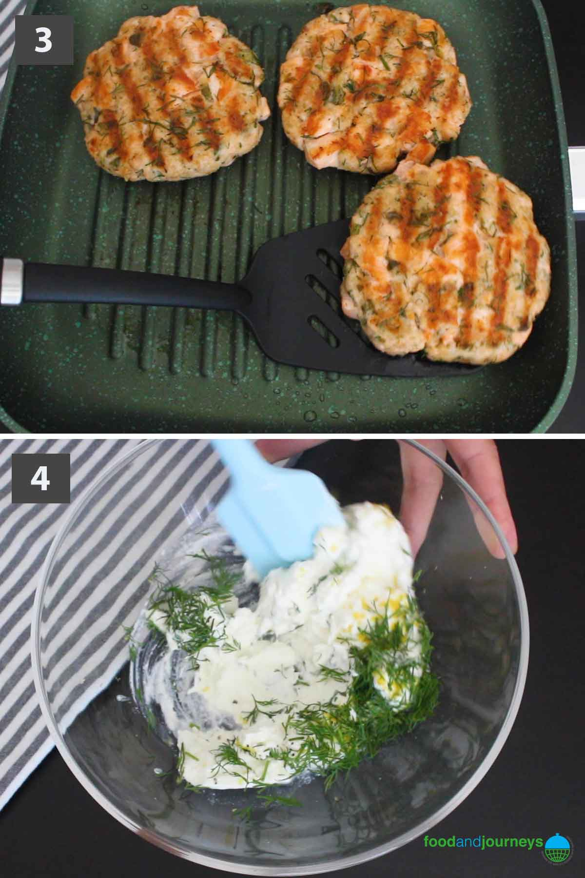 Second part of the second version of a collage of images showing the step by step process on how to prepare Salmon Burgers at home.