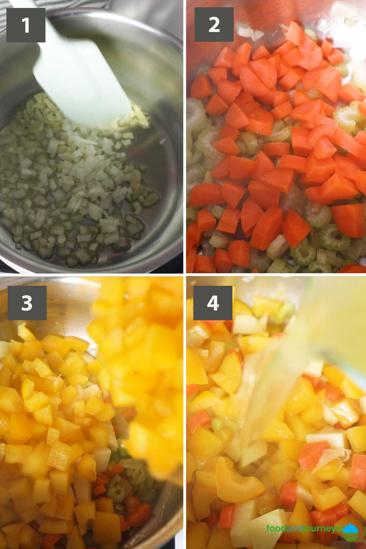 First updated part of a collage of images showing the step by step process on how to prepare yellow pepper soup.