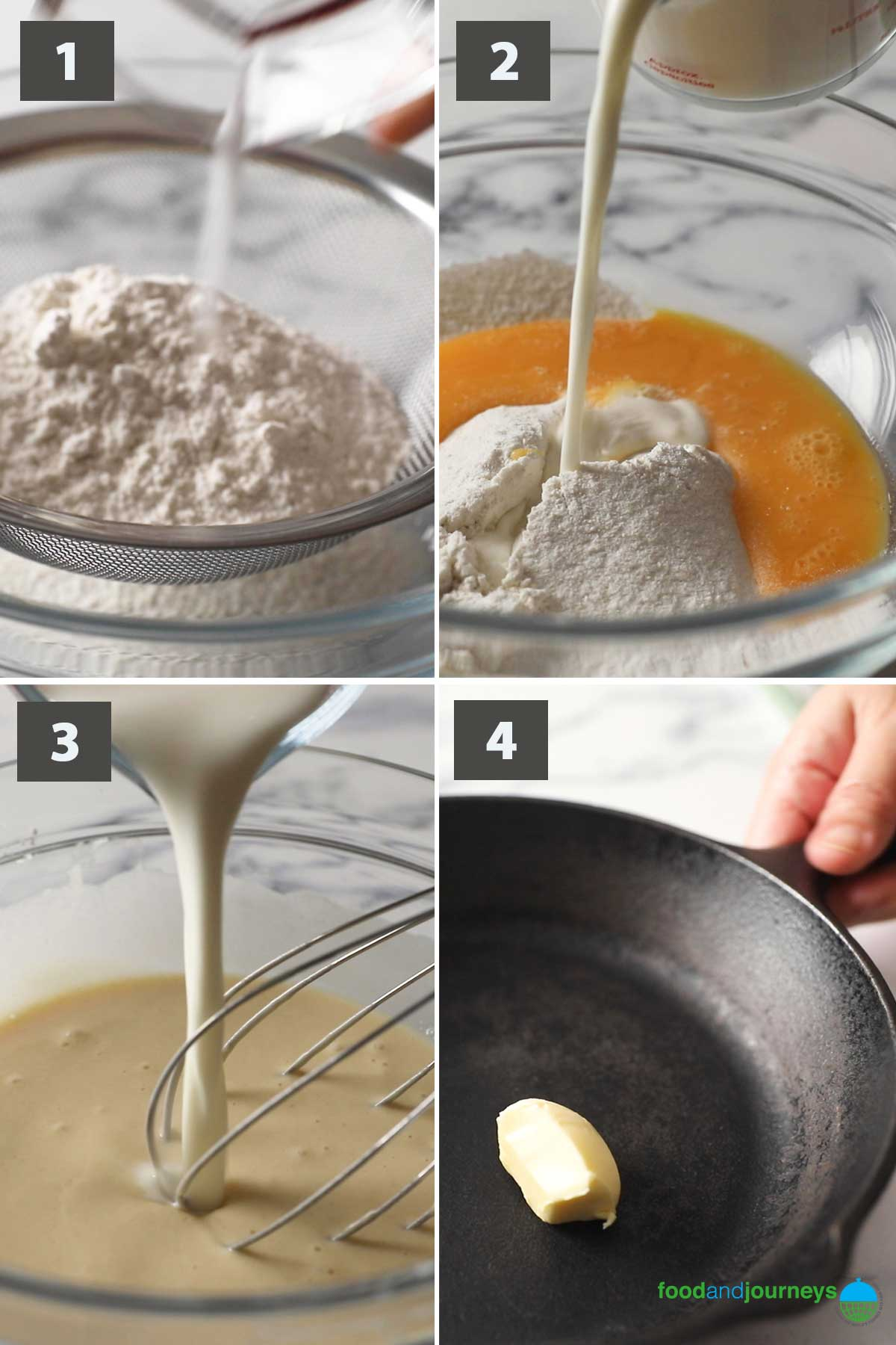First part of a collage of images showing the step by step process on how to make Baked Pancake.