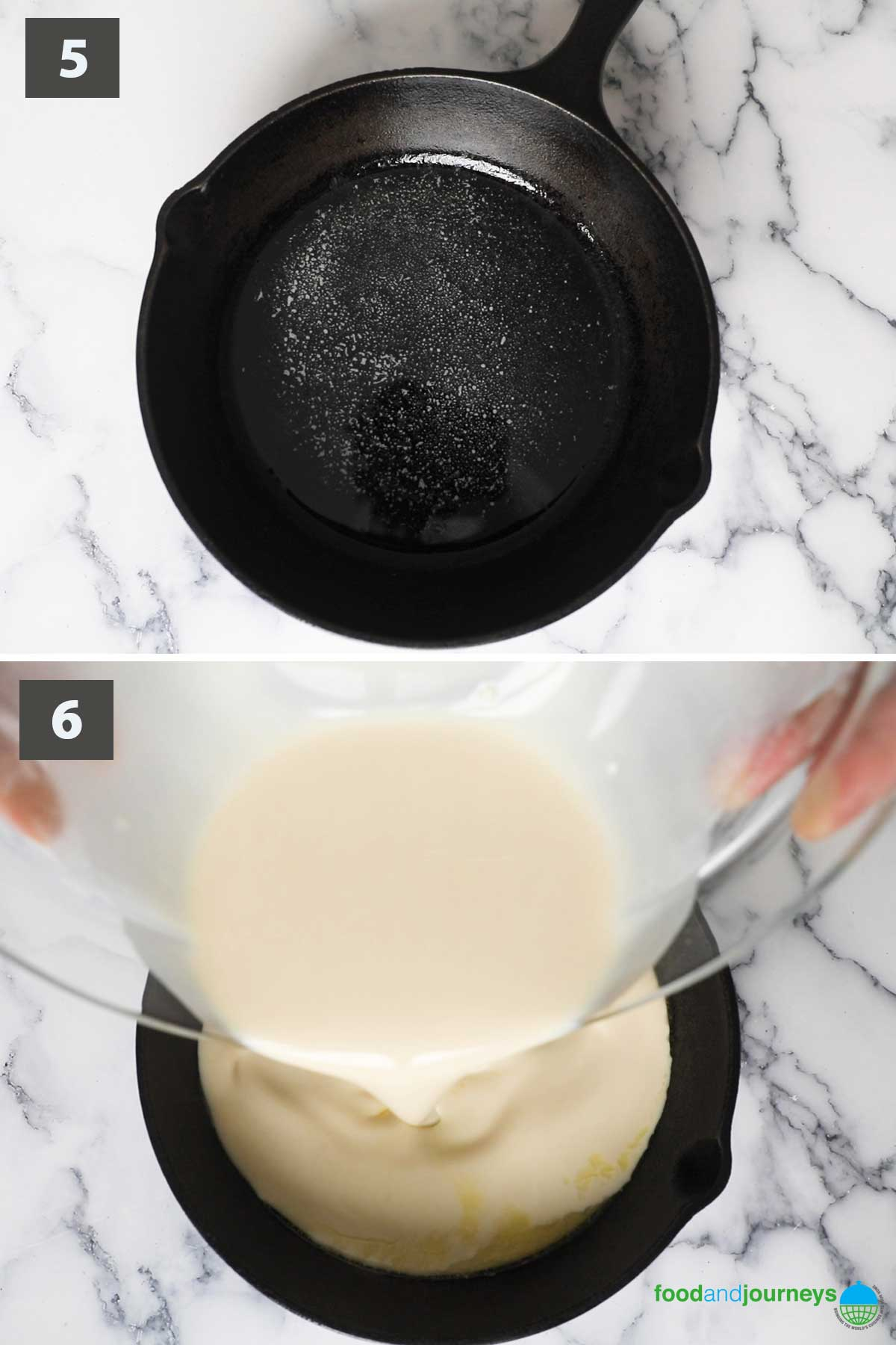 Second part of a collage of images showing the step by step process on how to make Finnish Oven-Baked Pancake at home.
