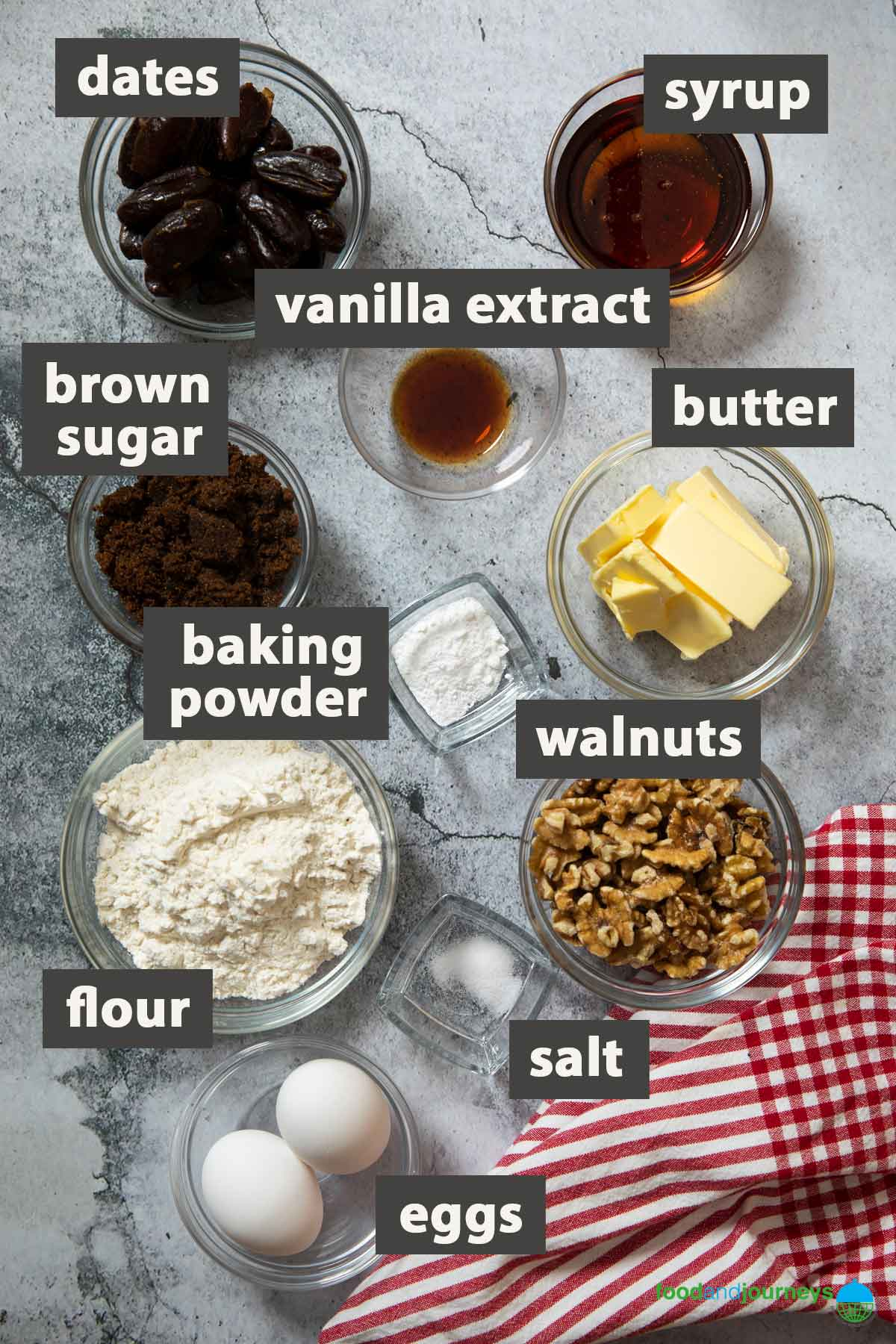 An image showing all the ingredients you need to prepare date and walnut bars.