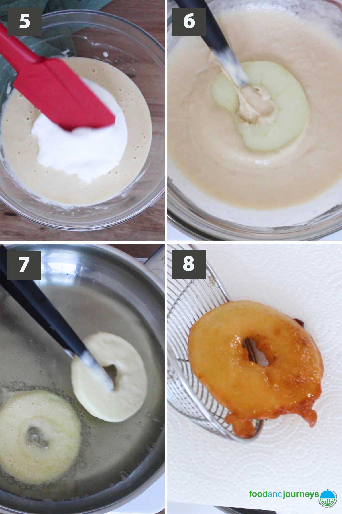 Updated second part of a collage of images showing the step by step proces on how to prepare fried apples.
