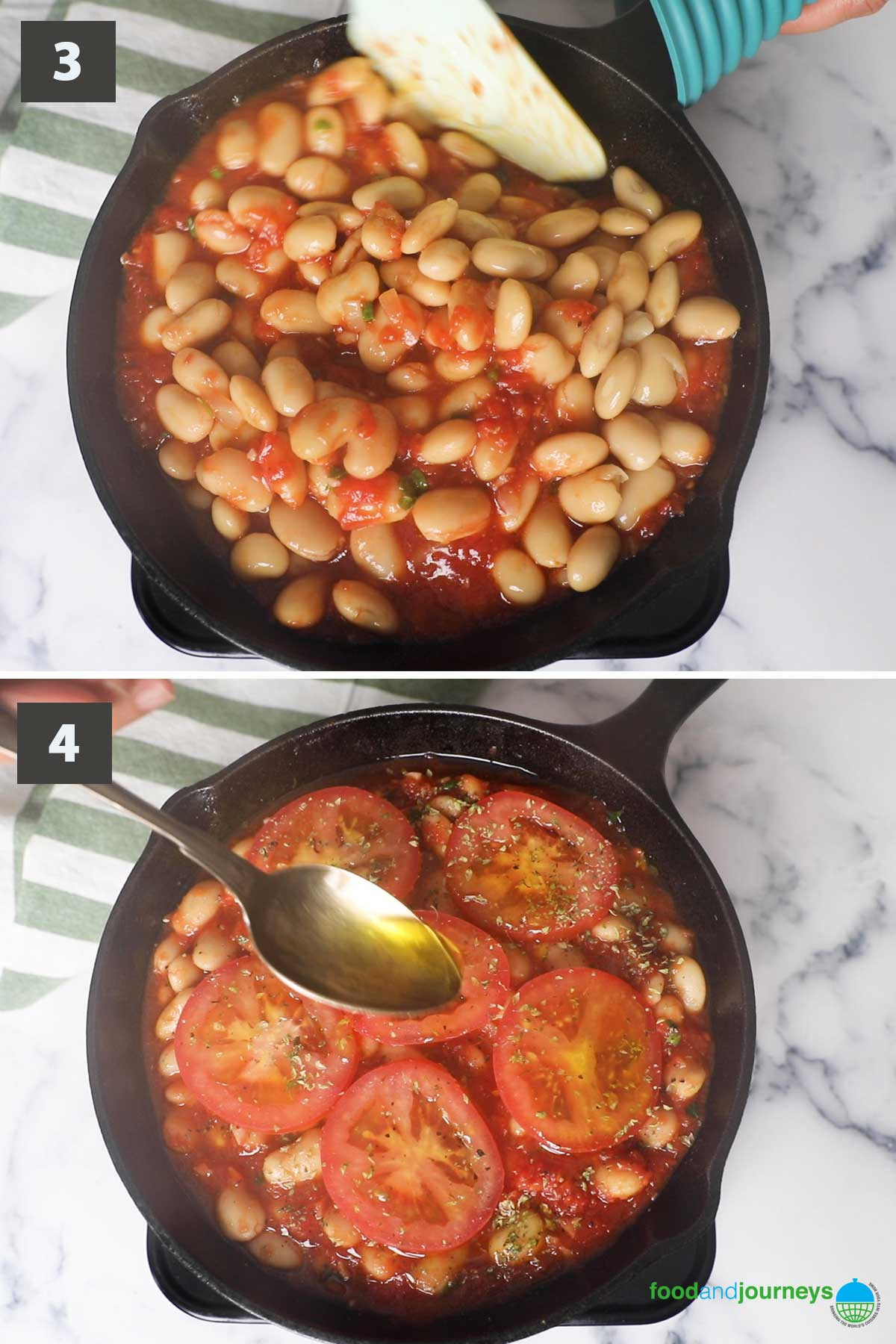 Updated second part of a collage of images showing the step by step process of making Greek Baked Beans at home.