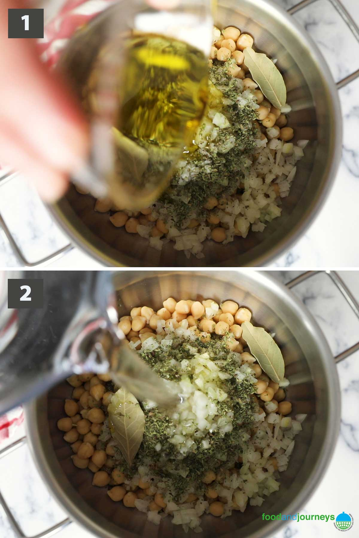 First part of a collage of images showing the step by step process on how to prepare chickpea soup.