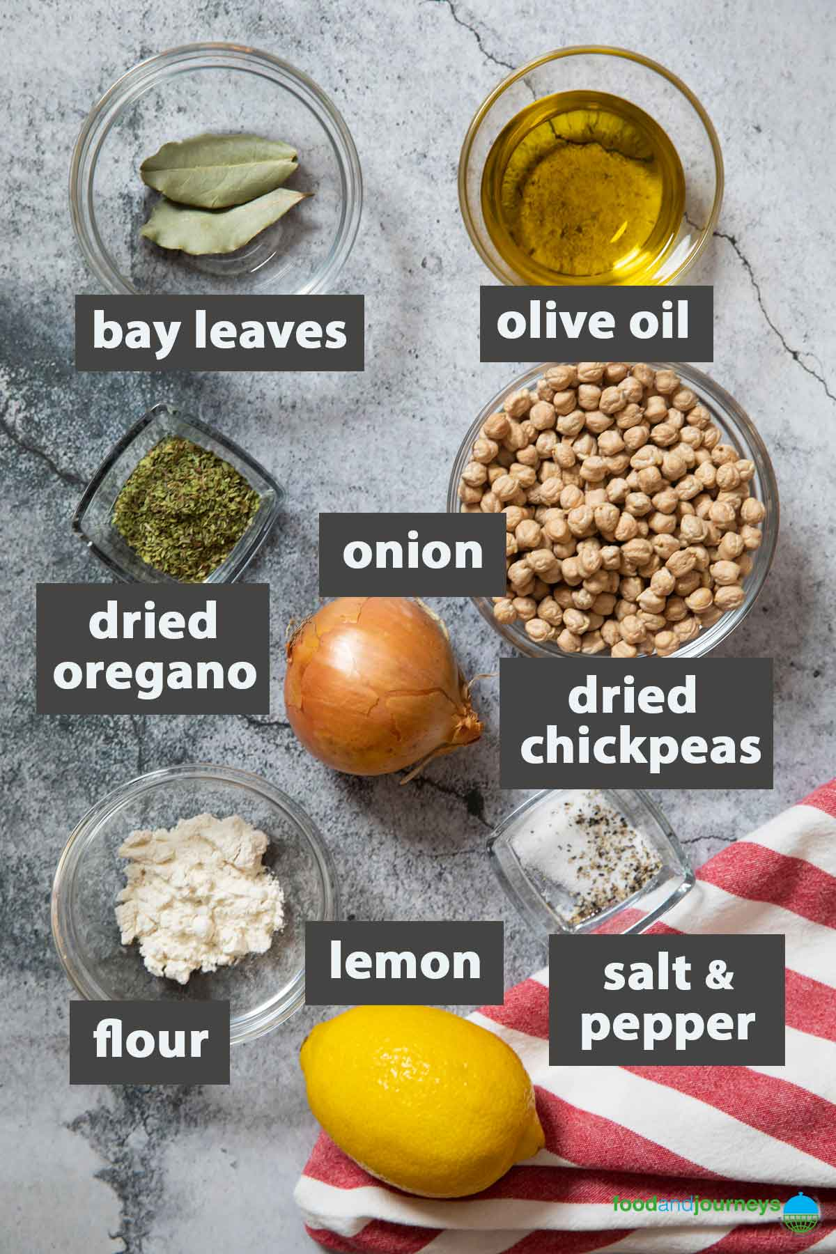 An image showing all the ingredients you need to prepare chickpea soup at home.