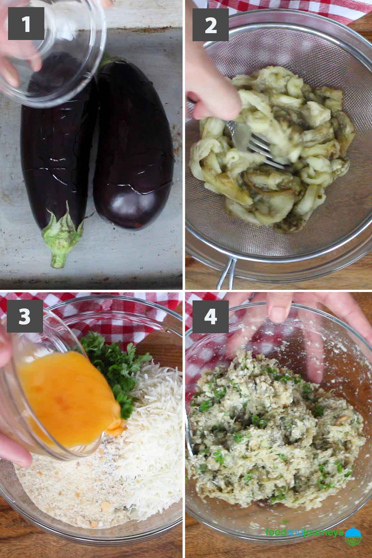 Updated first part of a collage of images showing step by step process on how to make eggplant meatballs.