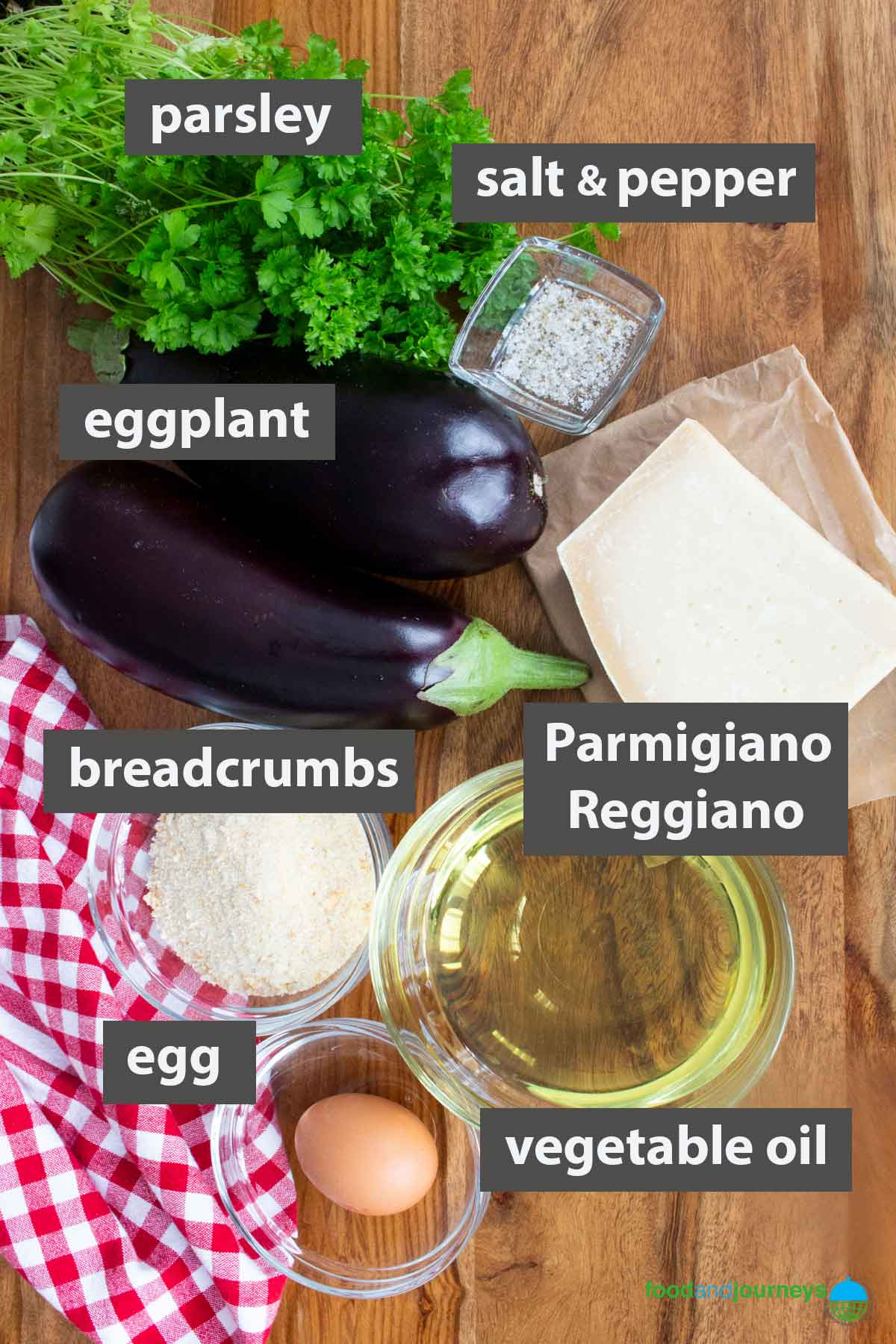 An updated image showing all the ingredients you need to prepare eggplant meatballs at home.