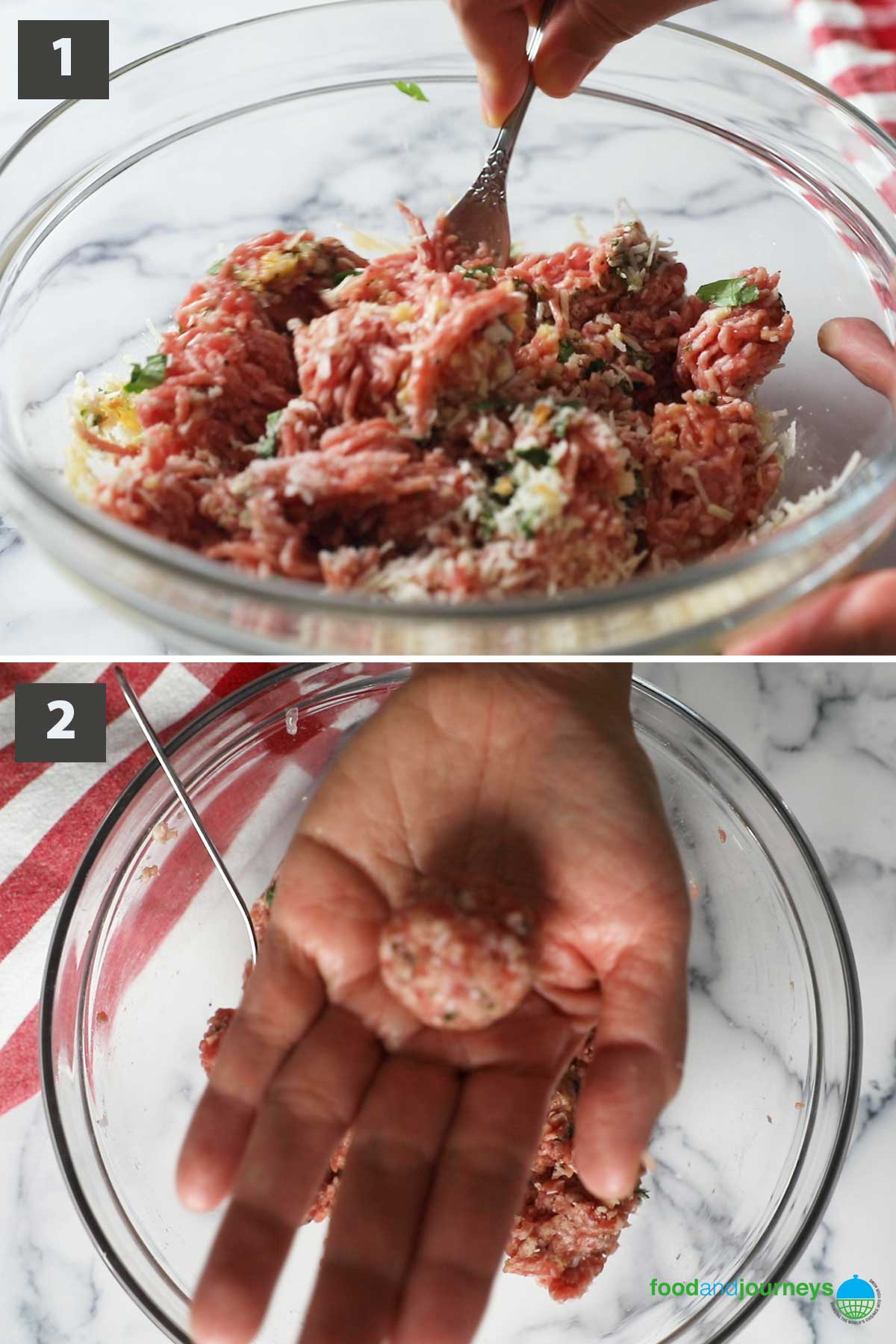 First part of a collage of images showing the step by step process on how to make Polpettine di Carne at home