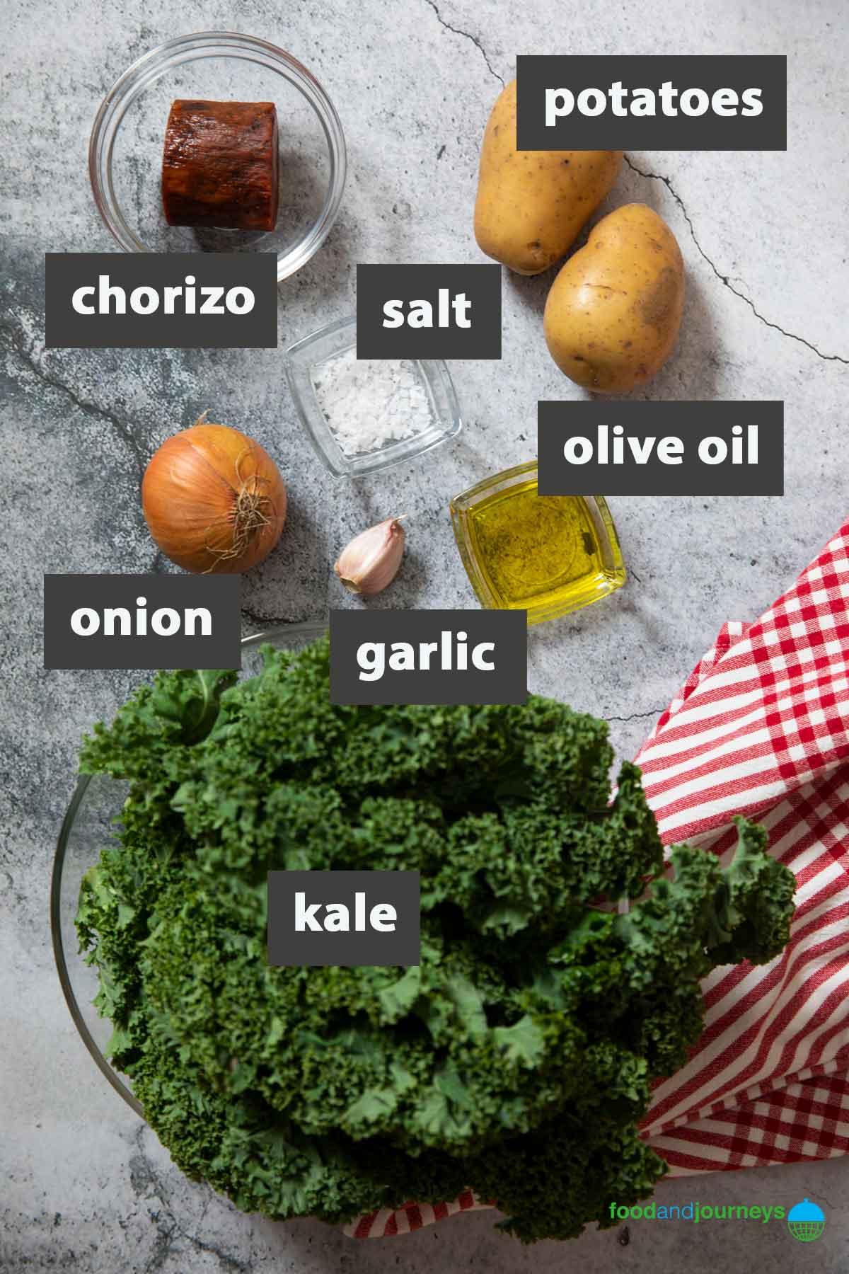 An image showing all the ingredients you need to prepare Portuguese Green Soup at home.
