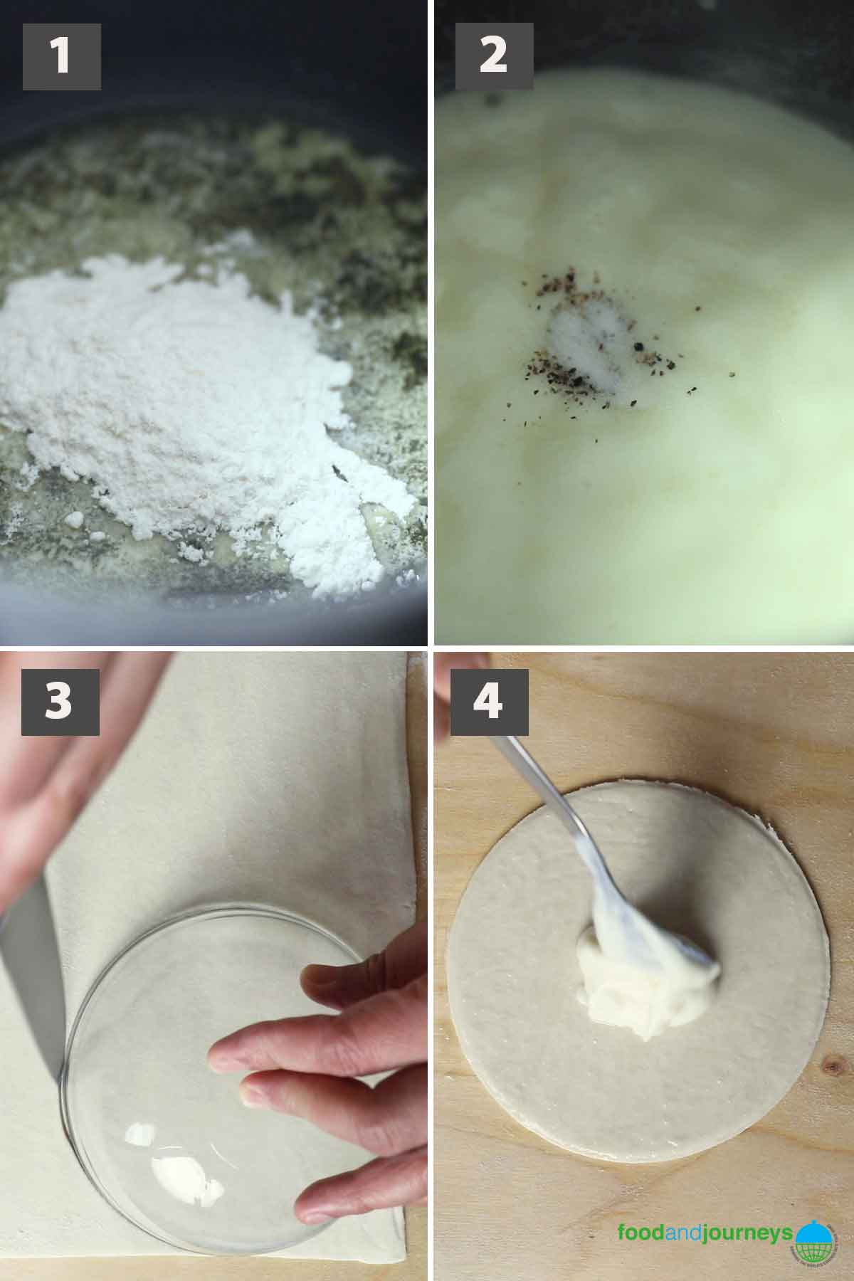 First part of a collage of images showing the step by step process on how to make rustico pastry at home.