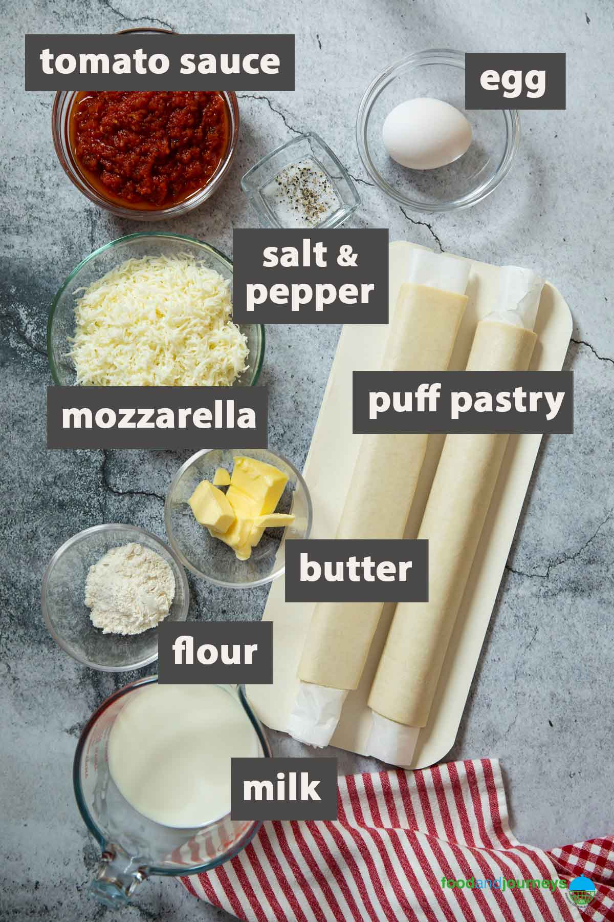 An image showing all the ingredients you need to prepare Rustico Salentino.