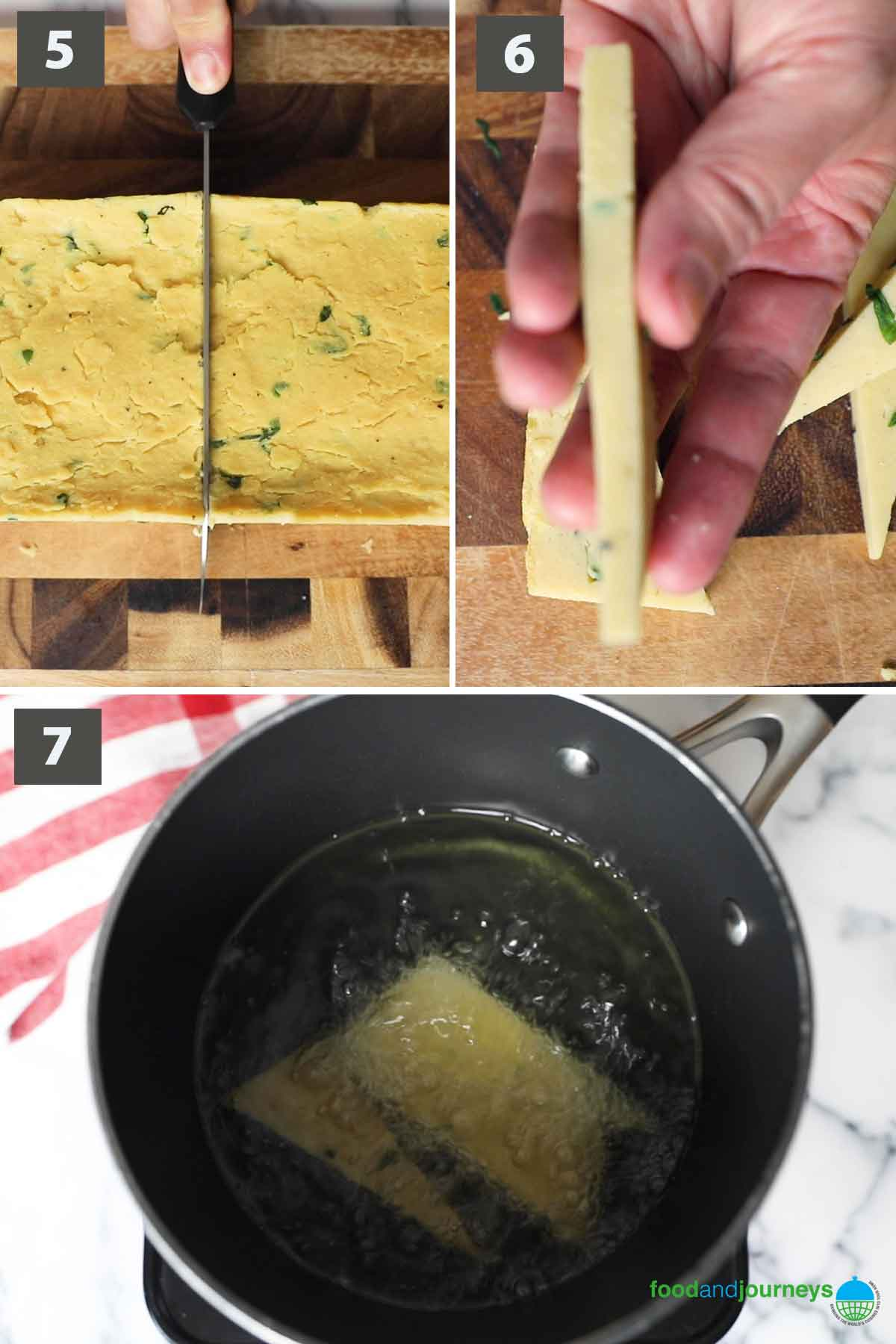 Second part of a collage of images showing the step by step process of making chickpea fritters at home.