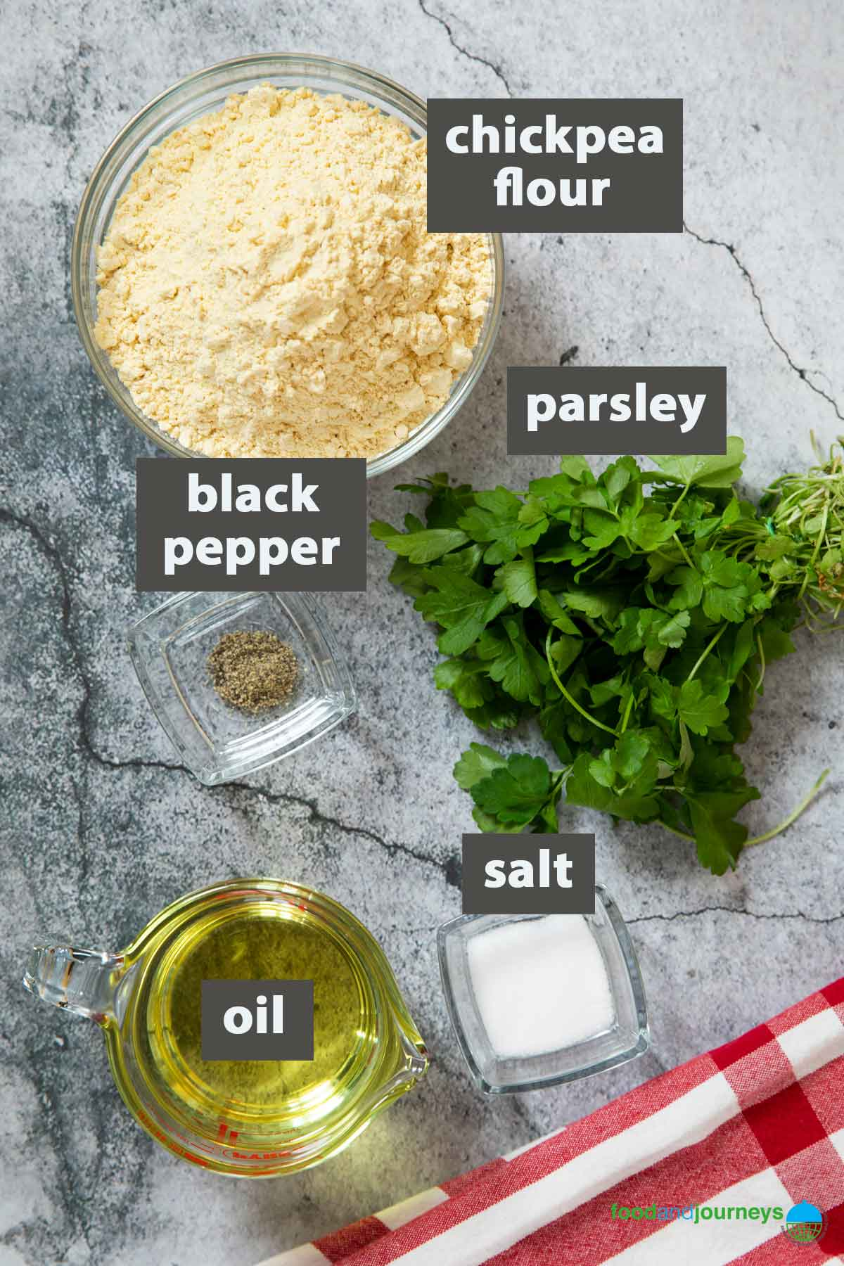 An image showing all the ingredients you need for making panelle.