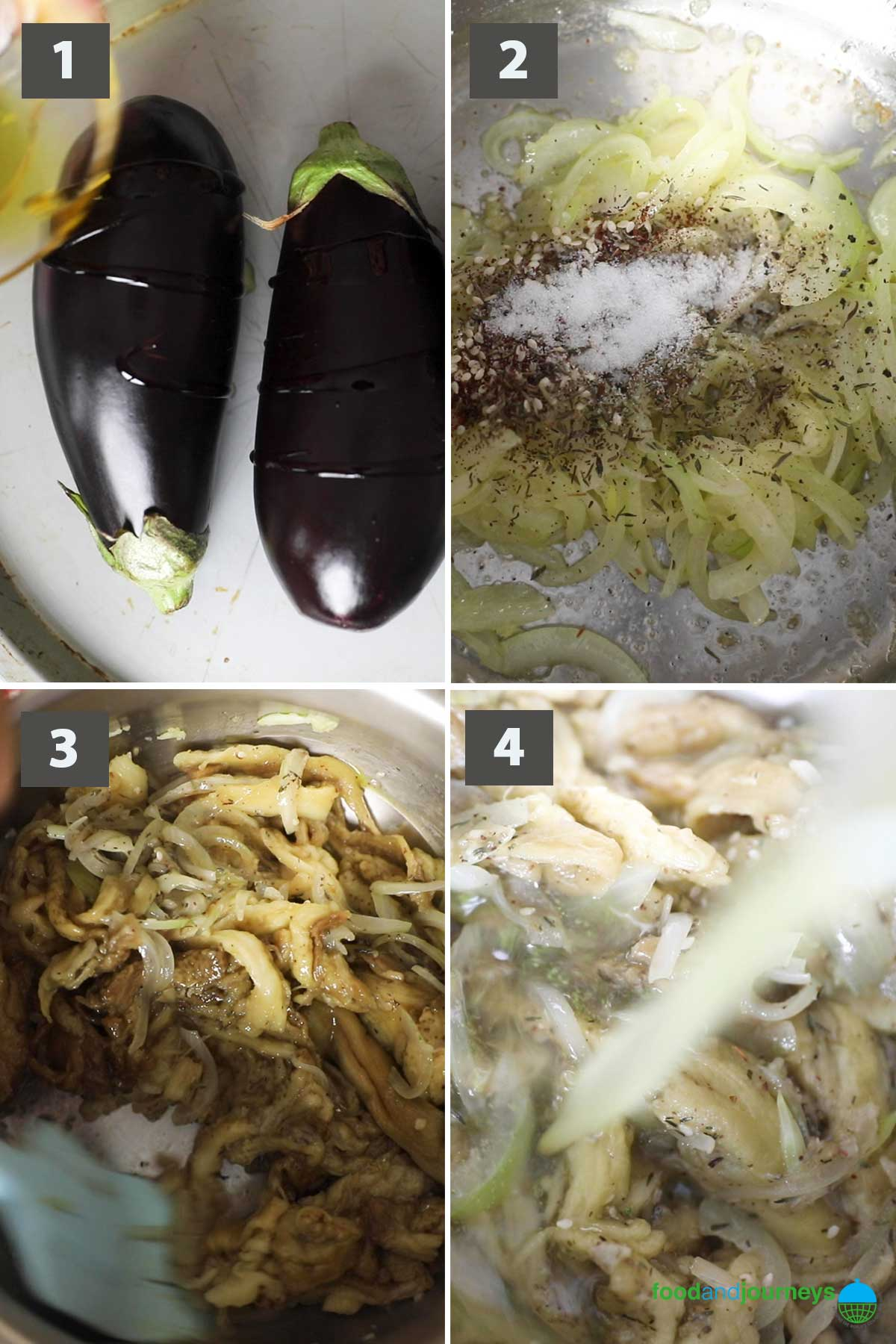 First part of a collage of images showing how to prepare Roasted Eggplant Soup at home.