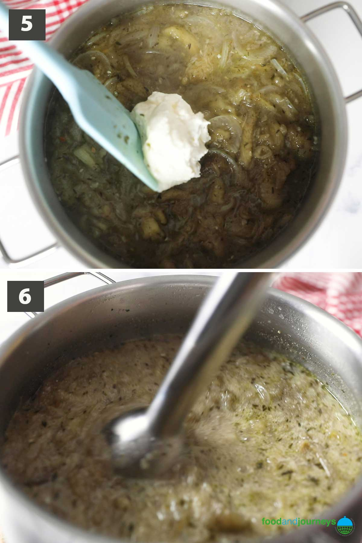 Second part of a collage of images showing the step by step process on how to make Eggplant Soup.