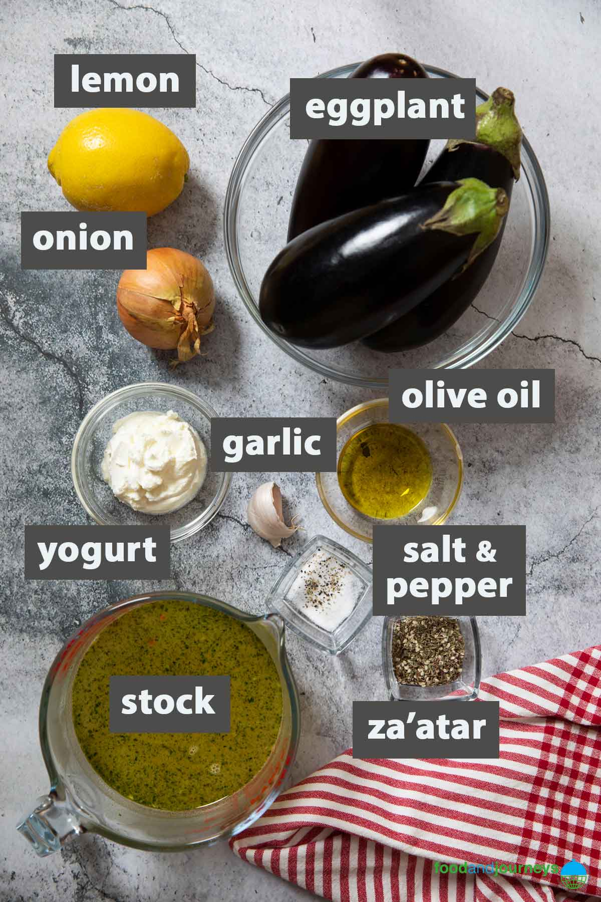 An image showing all the ingredients you need to prepare Eggplant Soup at home.