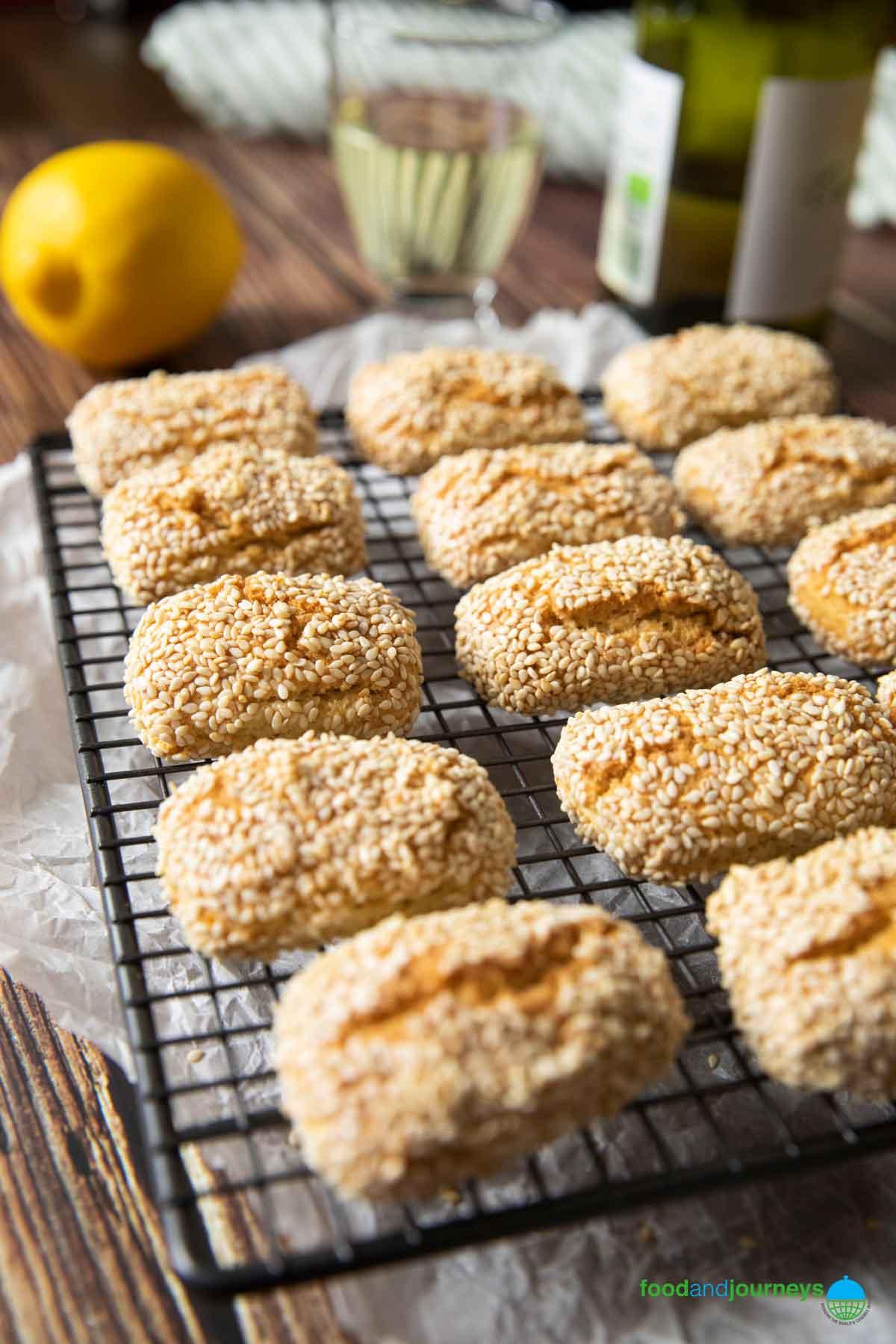 Freshly baked Sicilian sesame cookies, on a cooling rack.