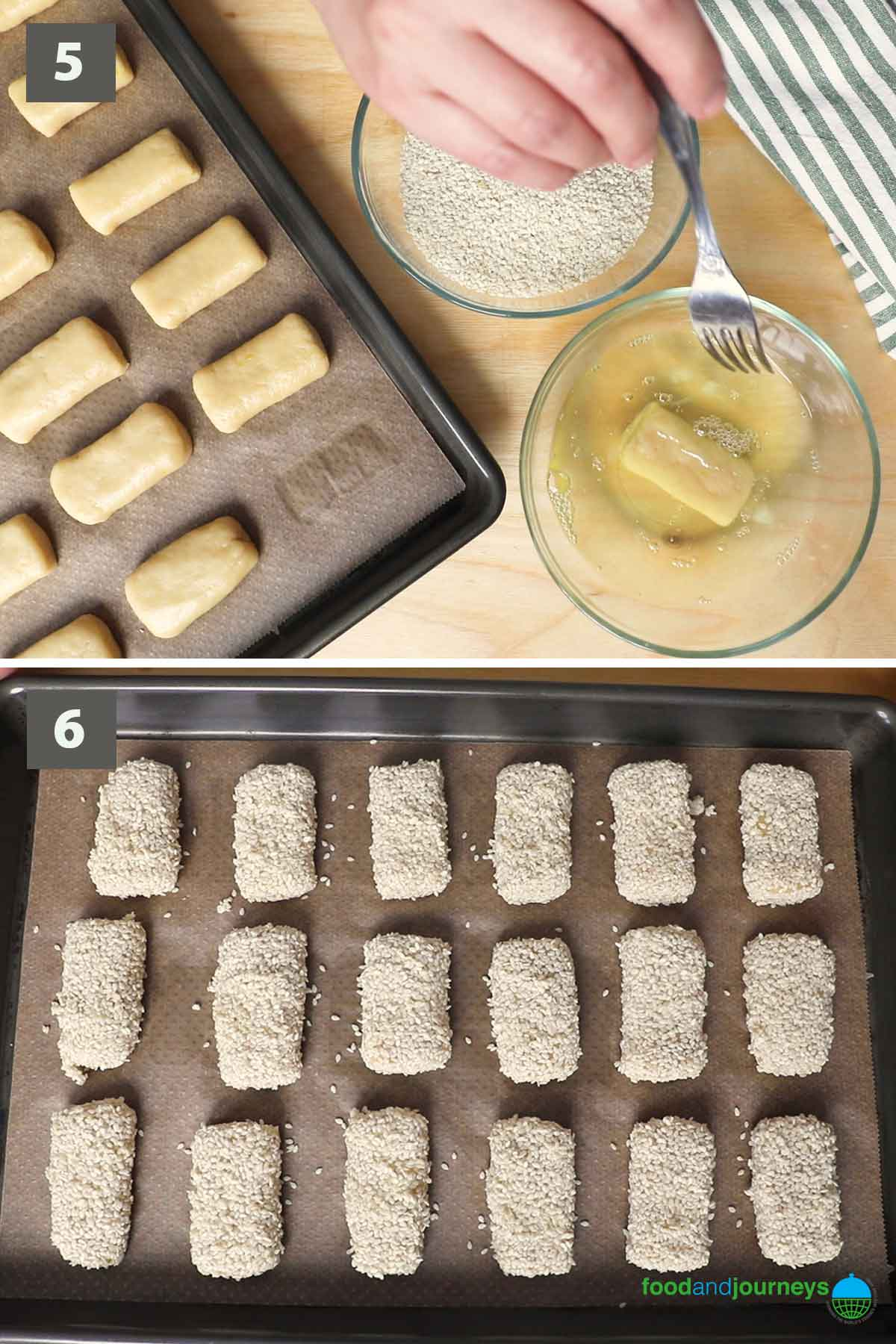 Second part of a collage of images showing the step by step process on how to make Italian sesame cookies.