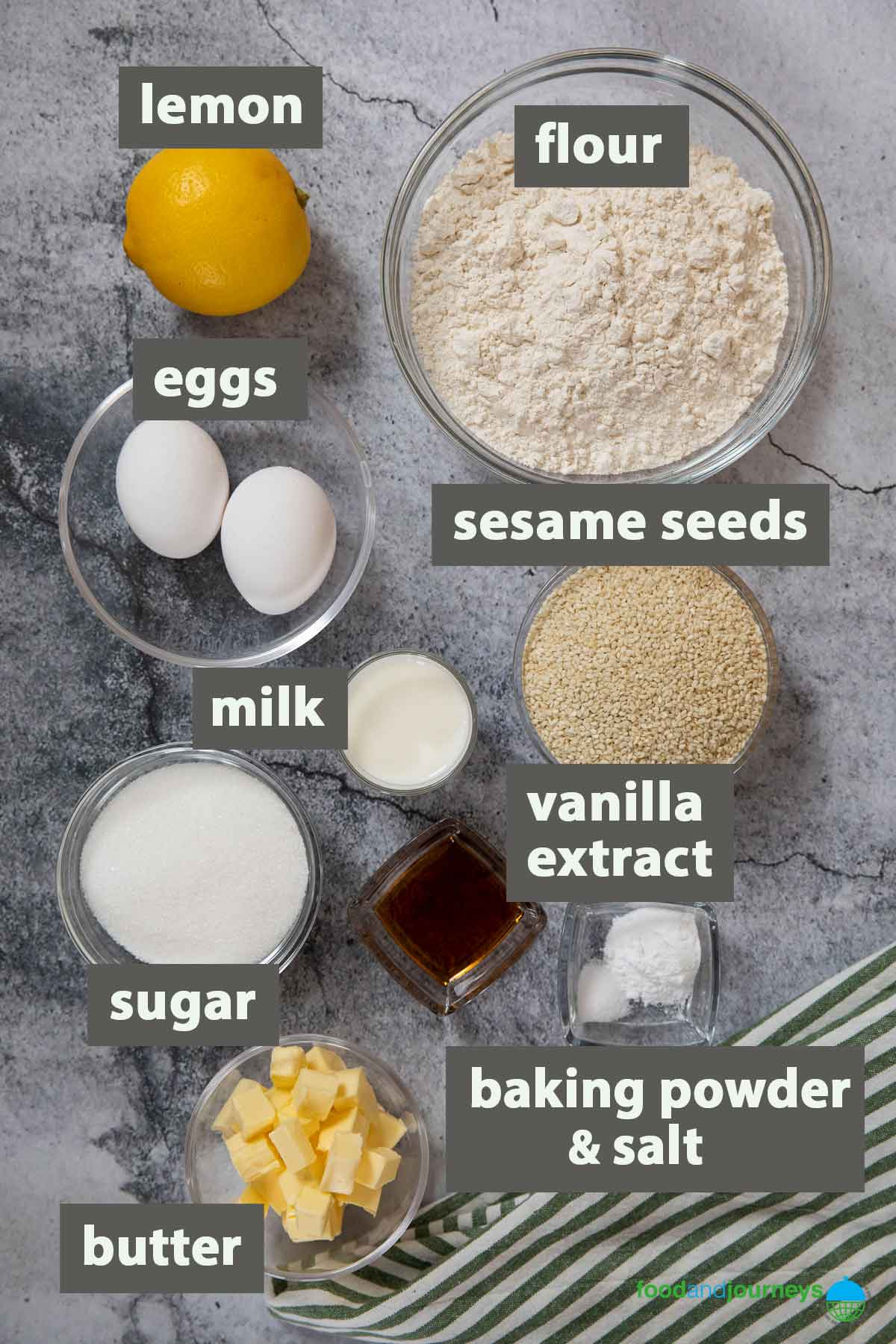 An image showing all the ingredients you need to make Biscotti Regina at home.